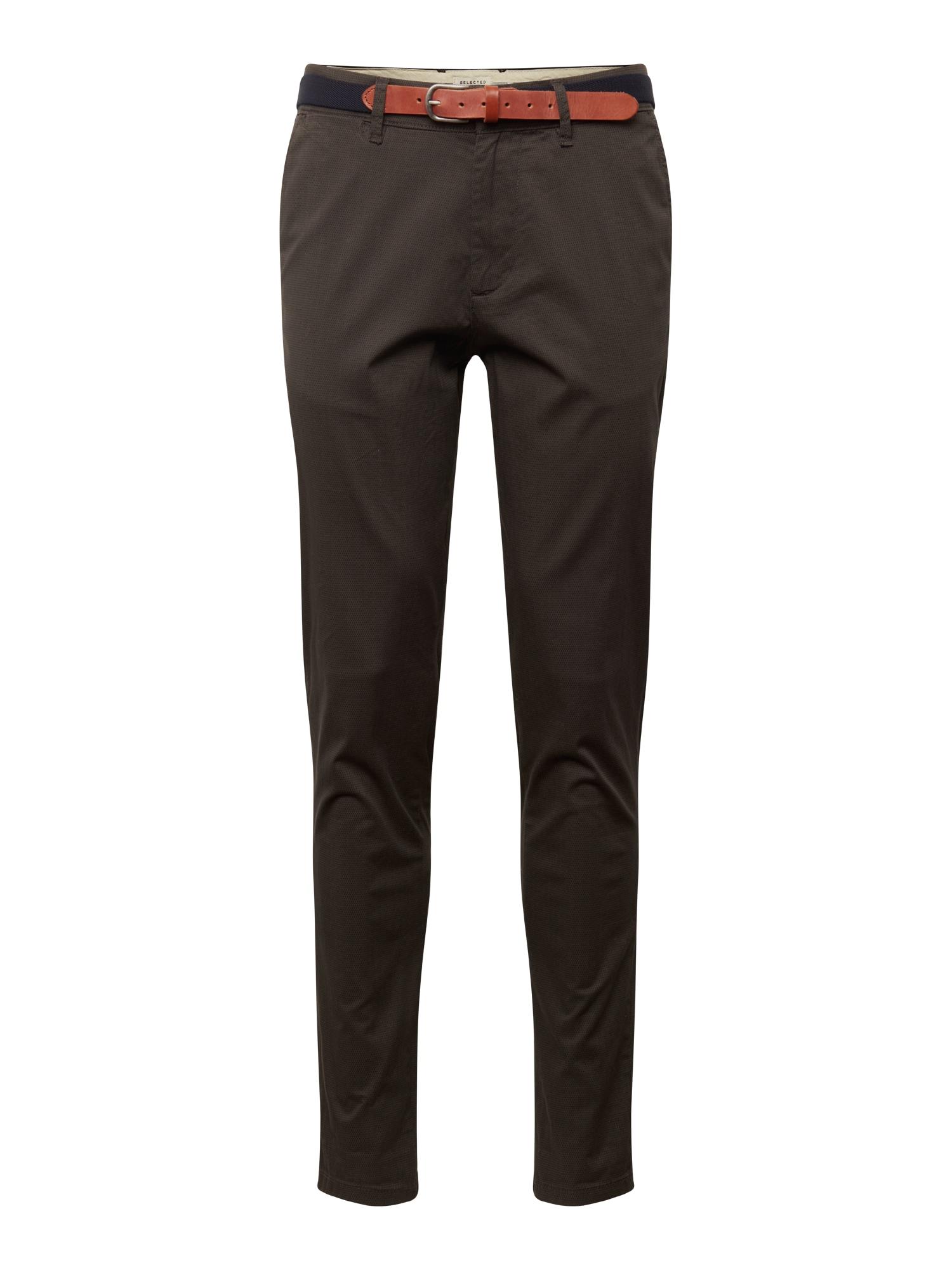 Chino kalhoty LIM-YARD AOP PANTS W tmavě šedá SELECTED HOMME