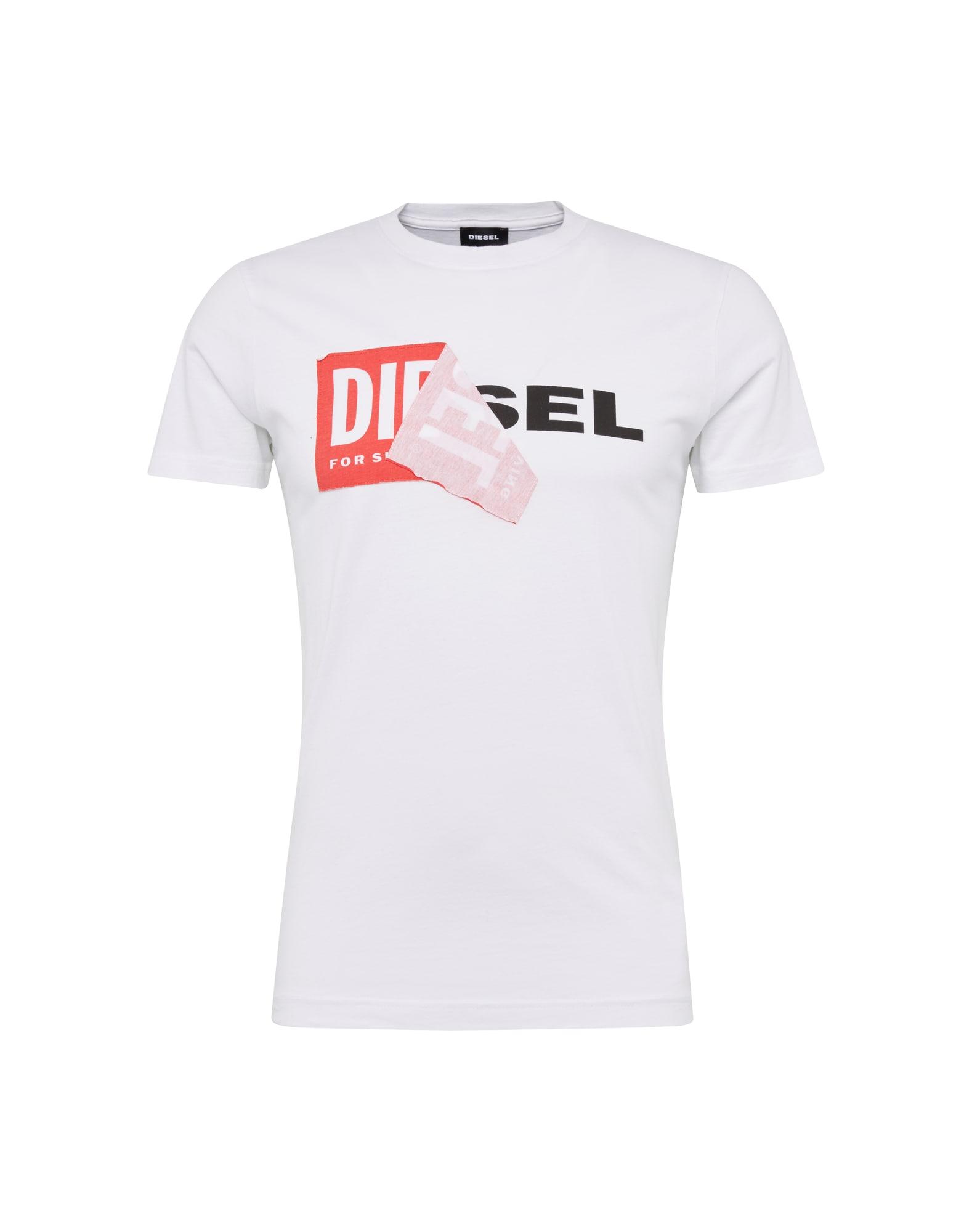DIESEL Tričko 'T-DIEGO-QA'  červená / čierna / biela