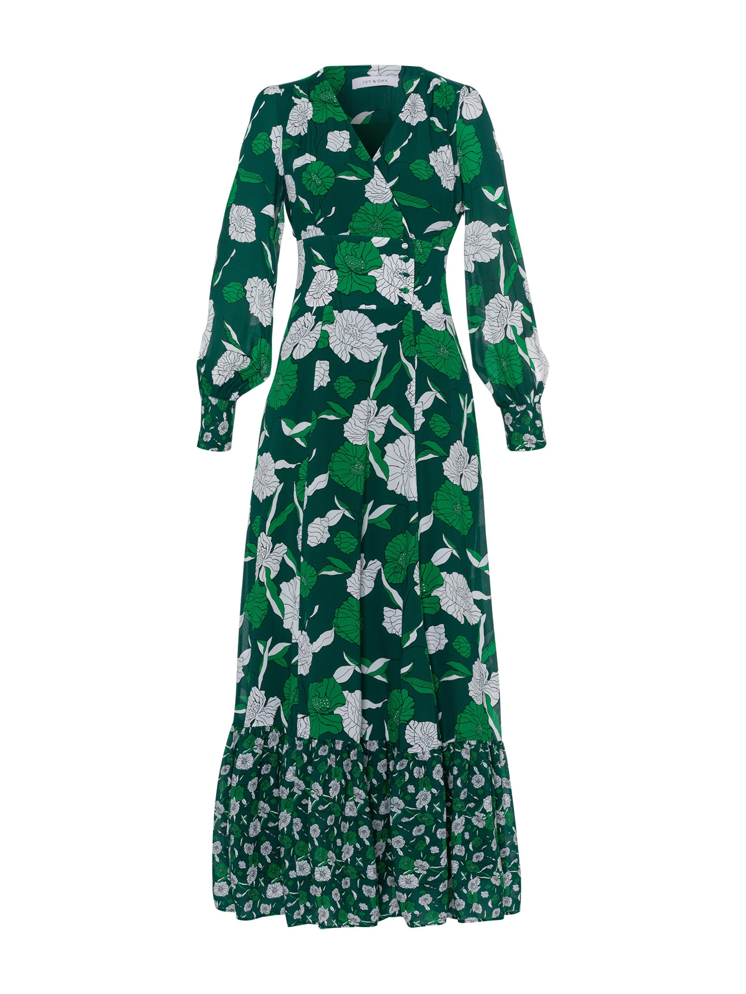 Společenské šaty zelená bílá IVY & OAK