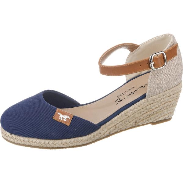 Sandalen für Frauen - MUSTANG Sandalette hellbeige dunkelblau braun  - Onlineshop ABOUT YOU