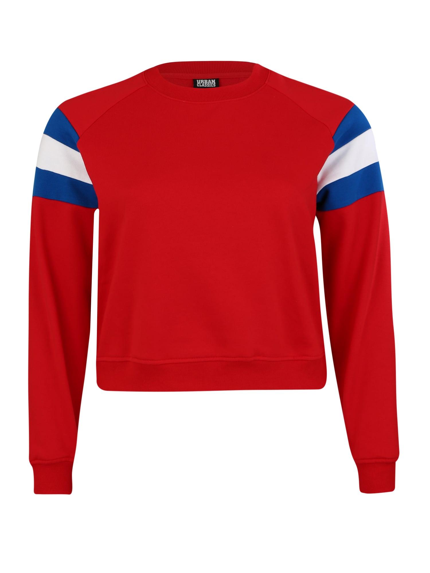 Urban Classics Curvy Megztinis be užsegimo mėlyna / raudona / balta