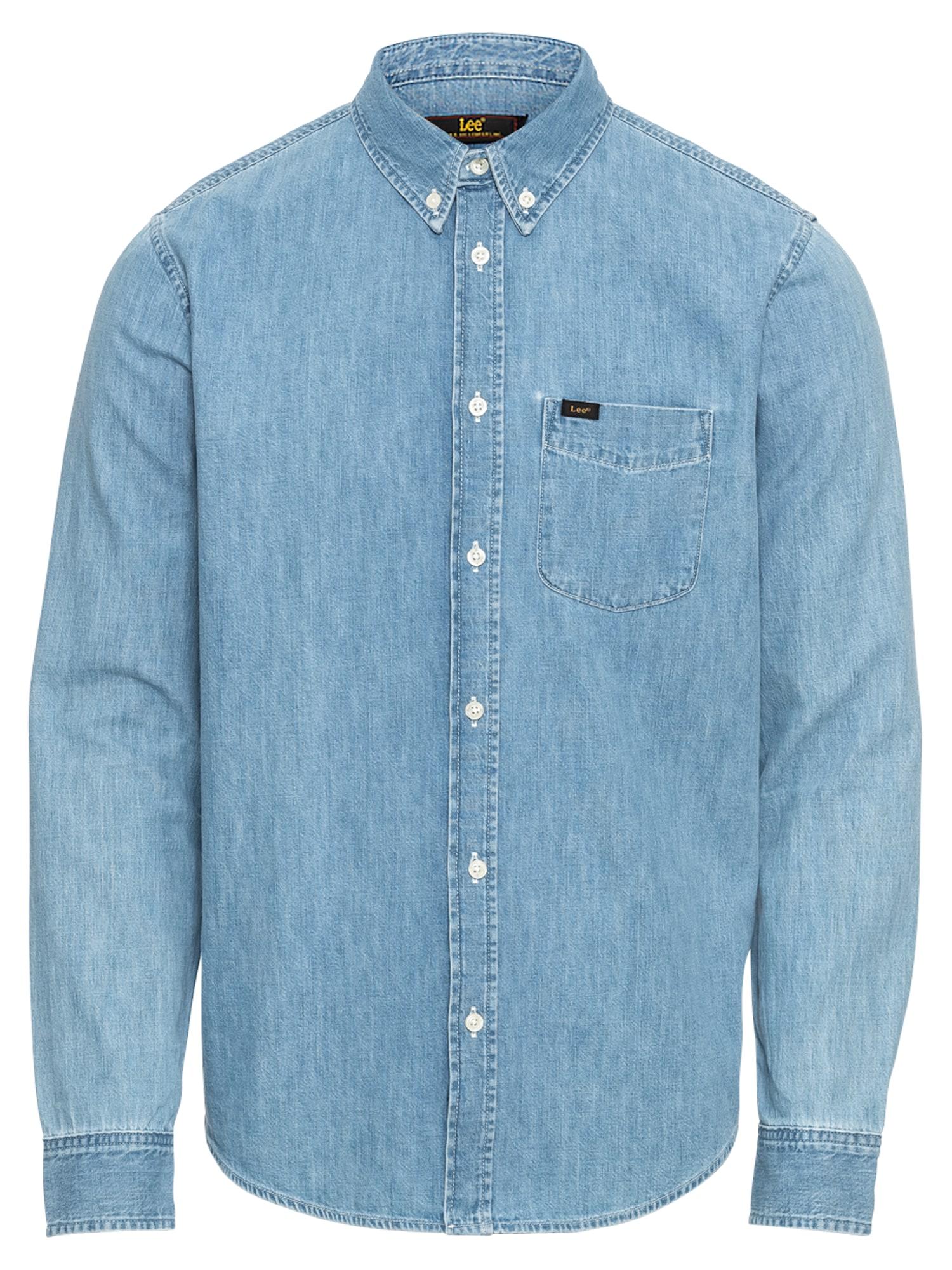 Košile Button Down modrá džínovina Lee