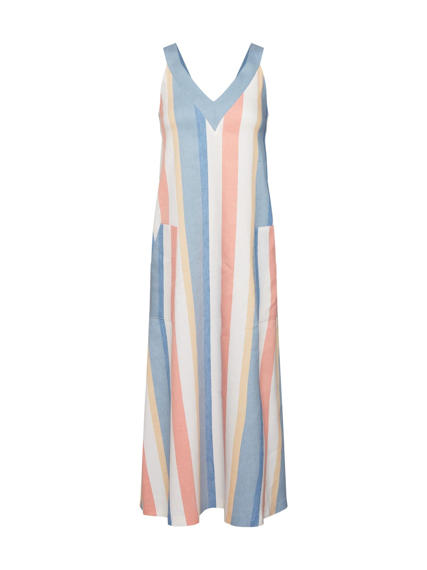 Letní šaty Anamy modrá pastelově žlutá starorůžová bílá BOSS
