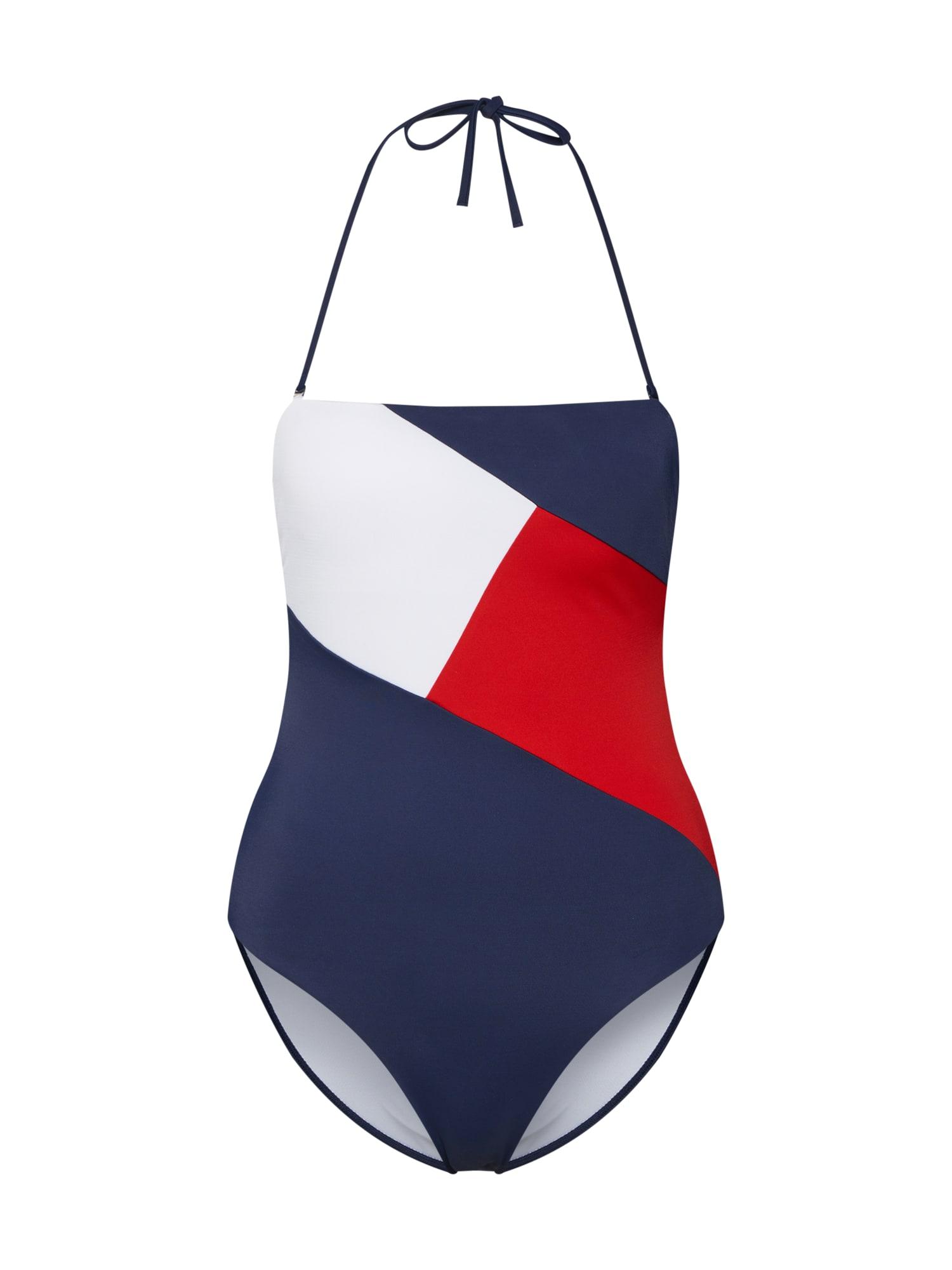 Plavky BANDEAU ONE-PIECE RP námořnická modř červená bílá Tommy Hilfiger Underwear