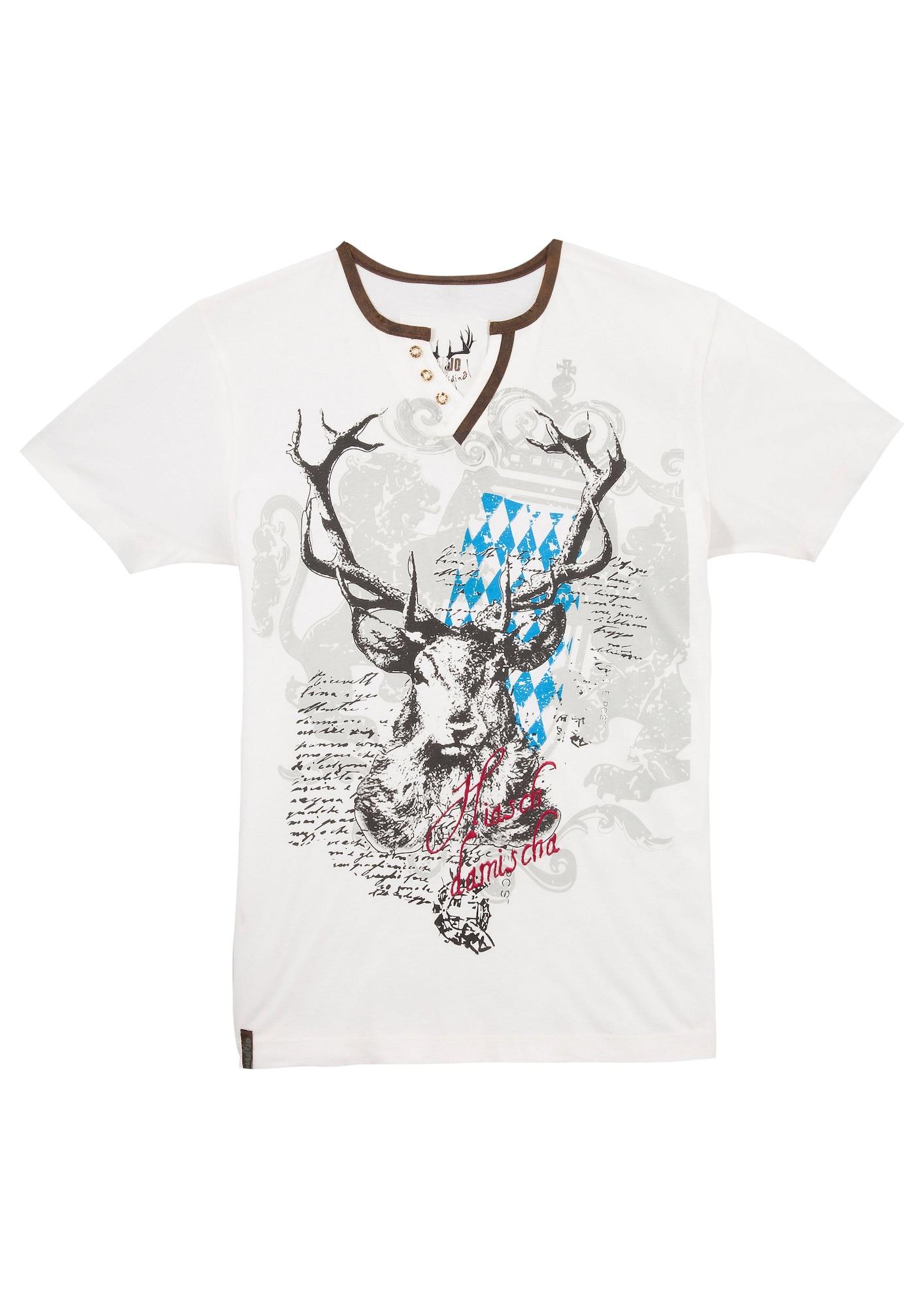 MARJO Marškinėliai su tradiciniais raštais balta / mišrios spalvos