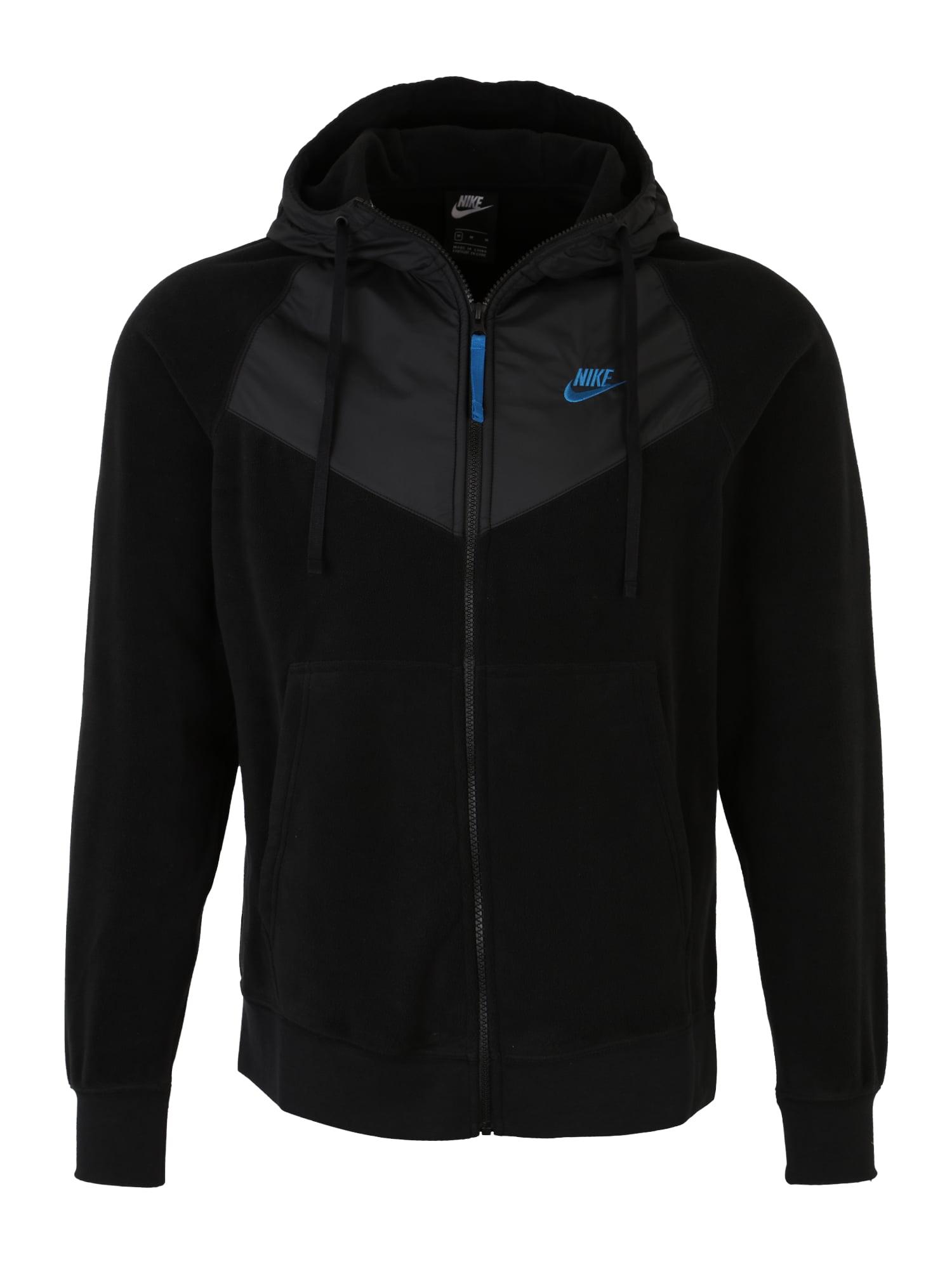 Fleecová mikina modrá černá Nike Sportswear