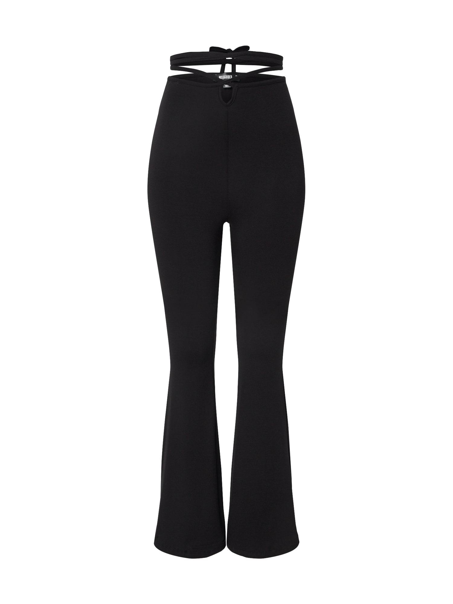 Missguided Leggings 'Tie Detail Flared Trousers'  negru