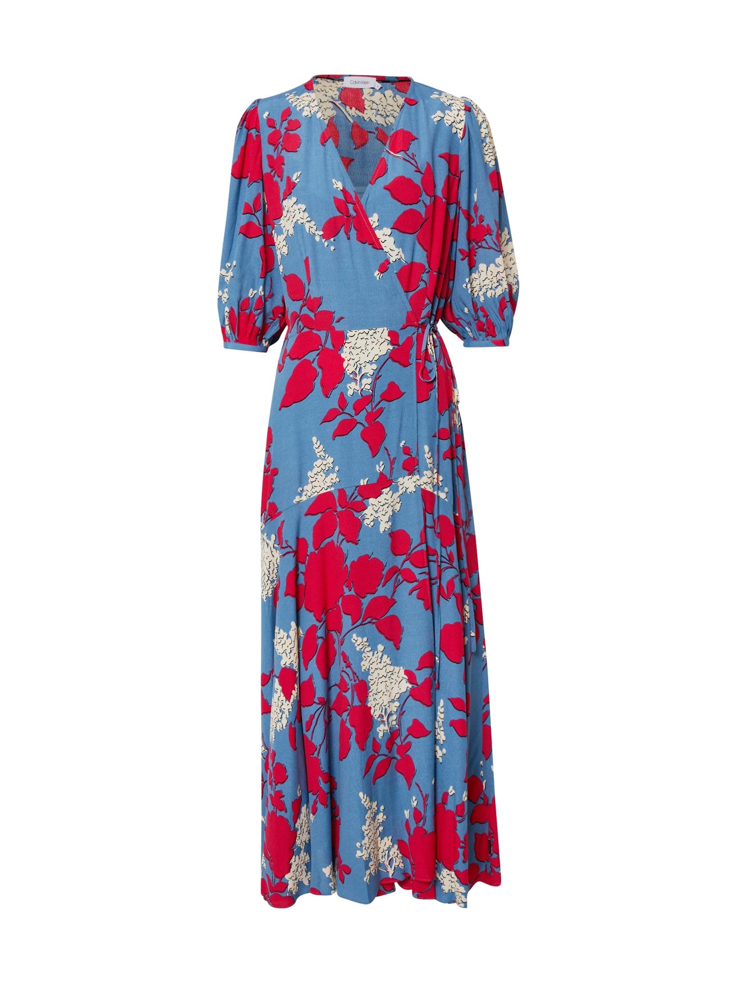 Calvin Klein Suknelė kraujo spalva / mėlyna / balta