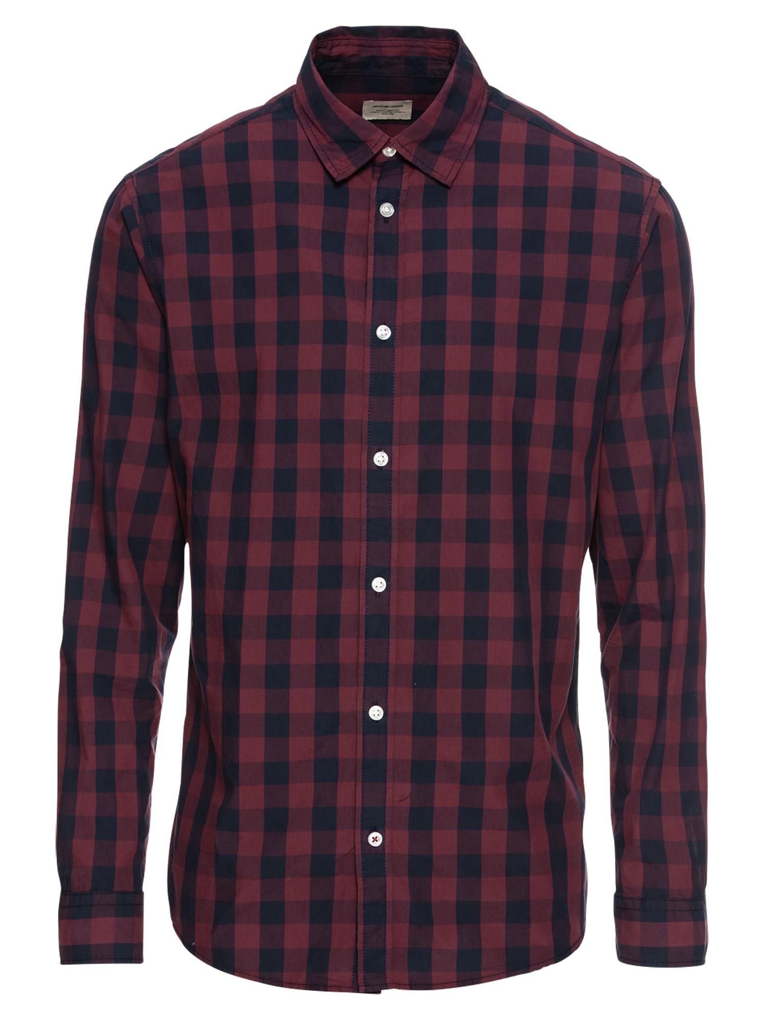 JACK & JONES Dalykiniai marškiniai 'JJEGINGHAM' vyno raudona spalva / tamsiai mėlyna