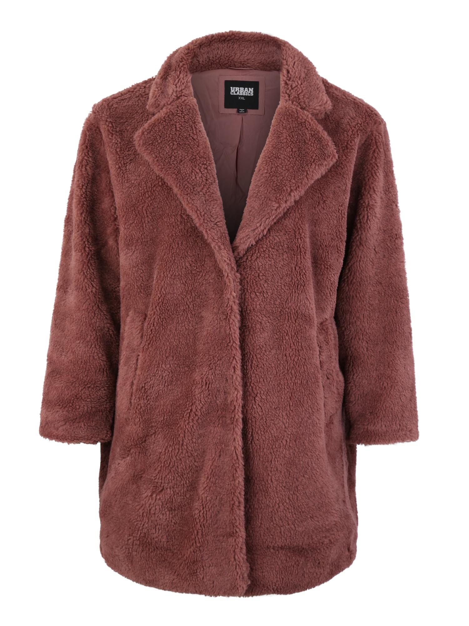 Urban Classics Curvy Rudeninis-žieminis paltas 'Sherpa Coat' ruda