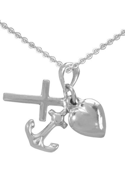Ketten für Frauen - FIRETTI Halskette »Glaube Liebe Hoffnung Kreuz Herz Anker« silber  - Onlineshop ABOUT YOU
