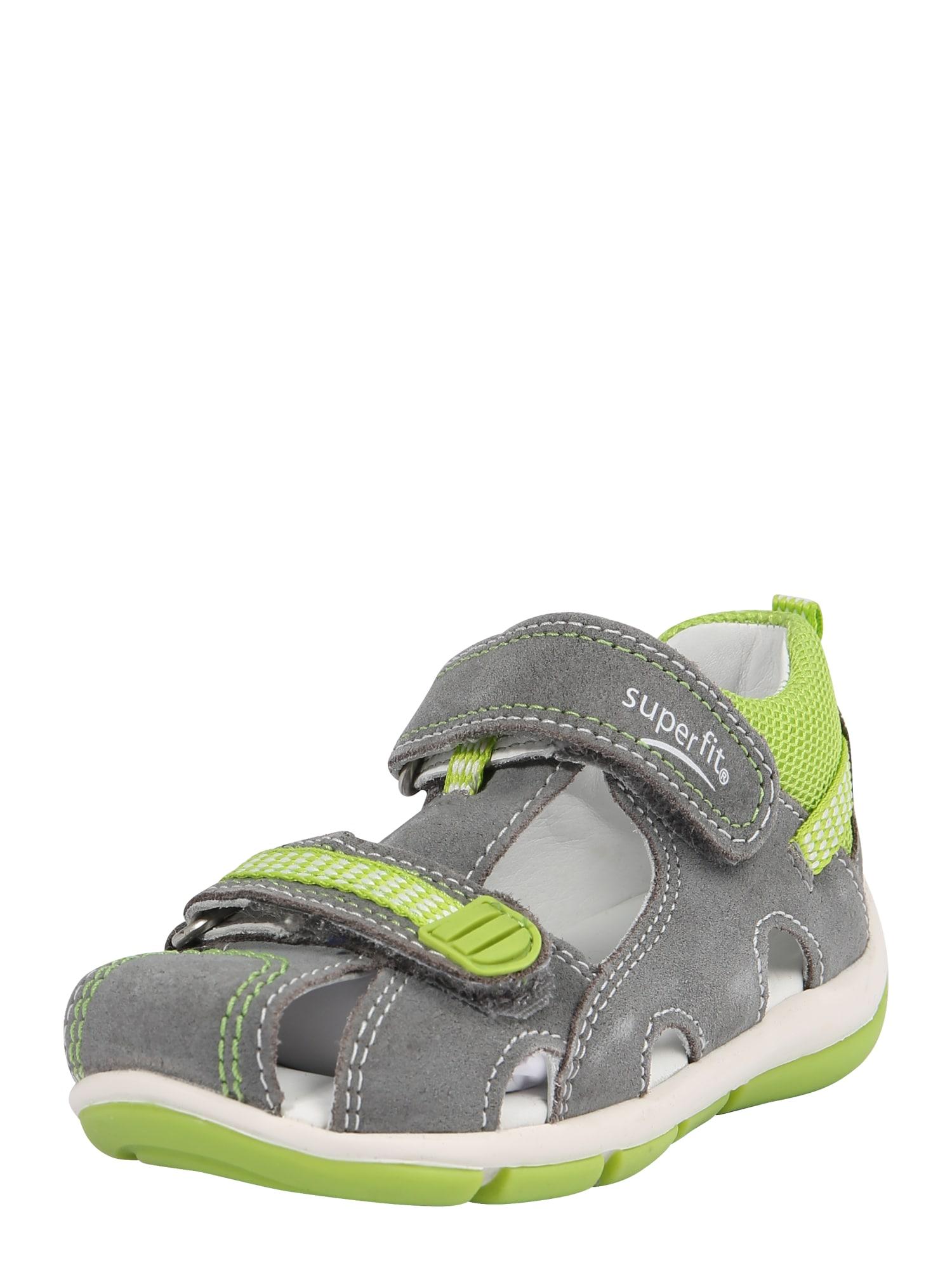 Otevřená obuv FREDDY šedá světle zelená SUPERFIT