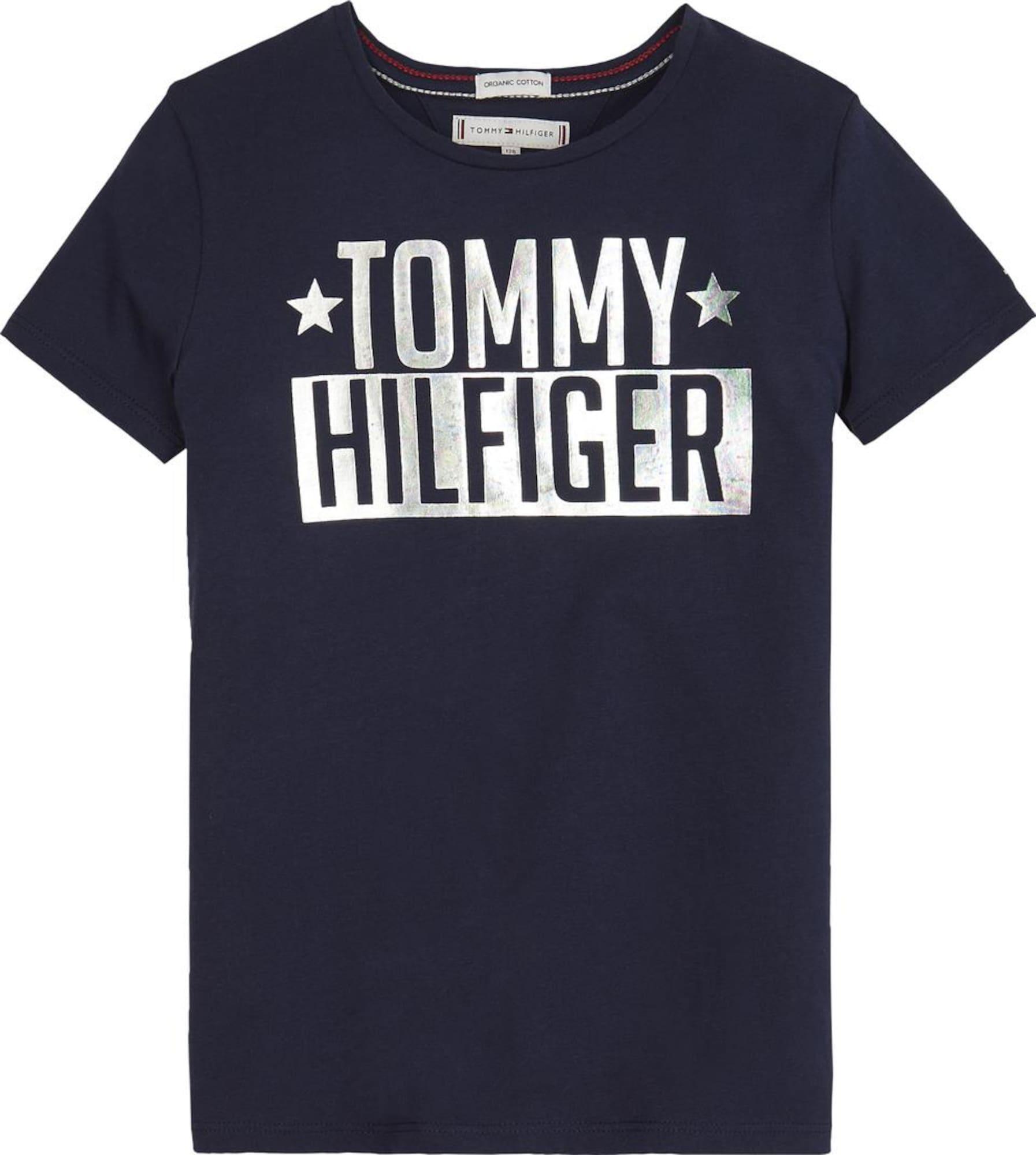 Tričko FOIL LOGO TEE SS  noční modrá  šedá TOMMY HILFIGER