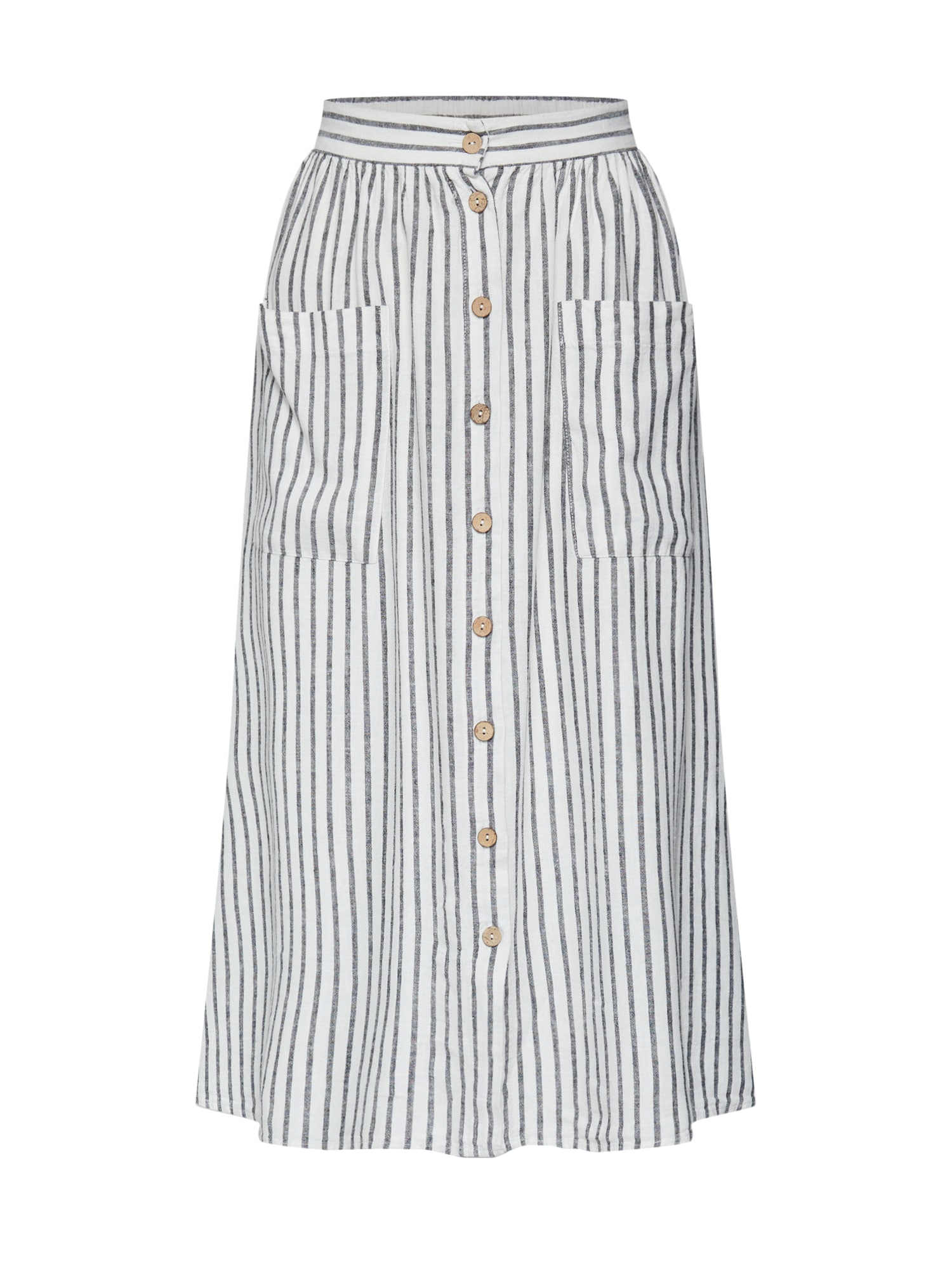 Sukně MARK STRIPE BUTTON THROUGH LINEN MIDI krémová NEW LOOK