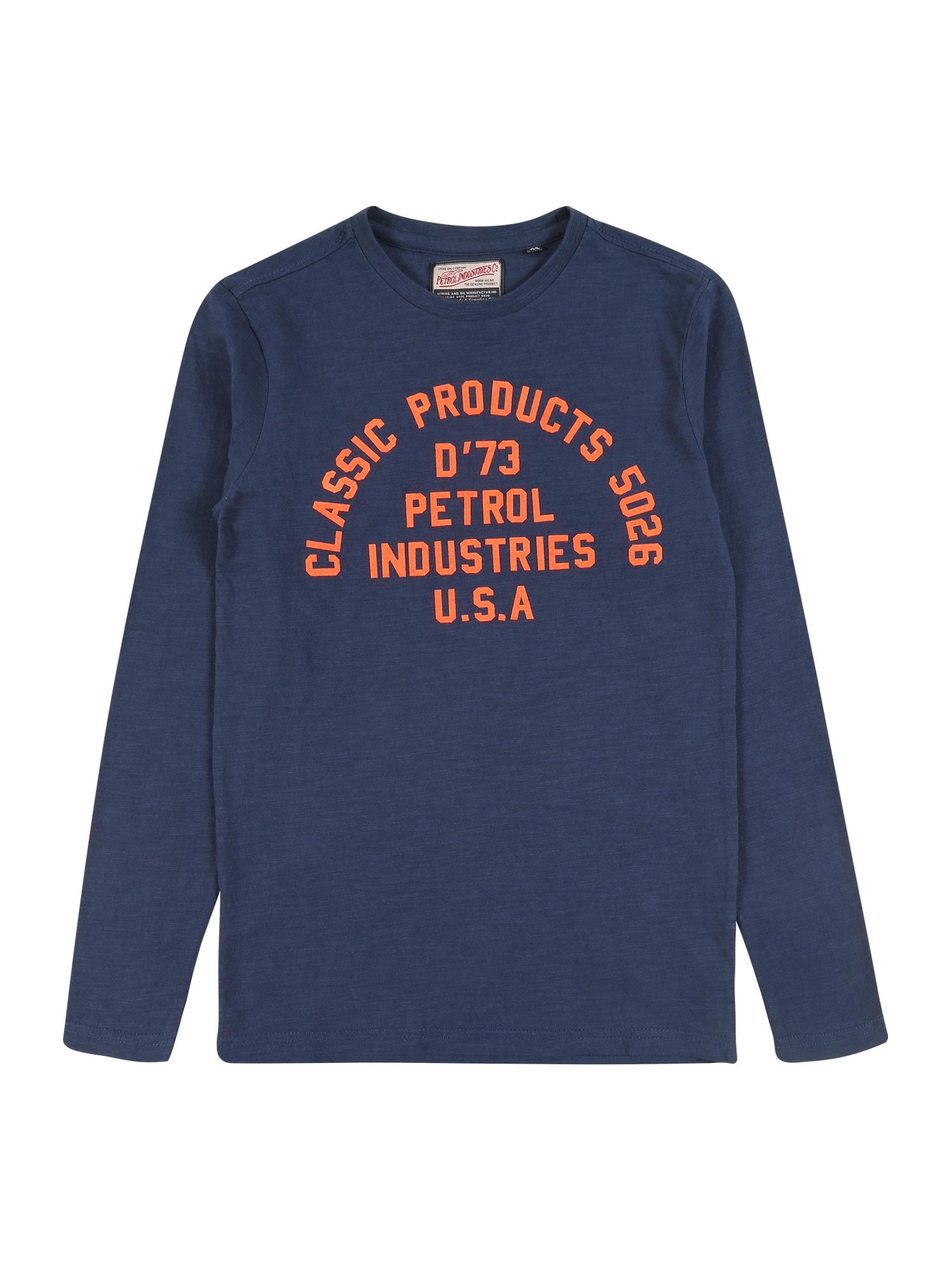 Petrol Industries Megztinis tamsiai mėlyna / oranžinė