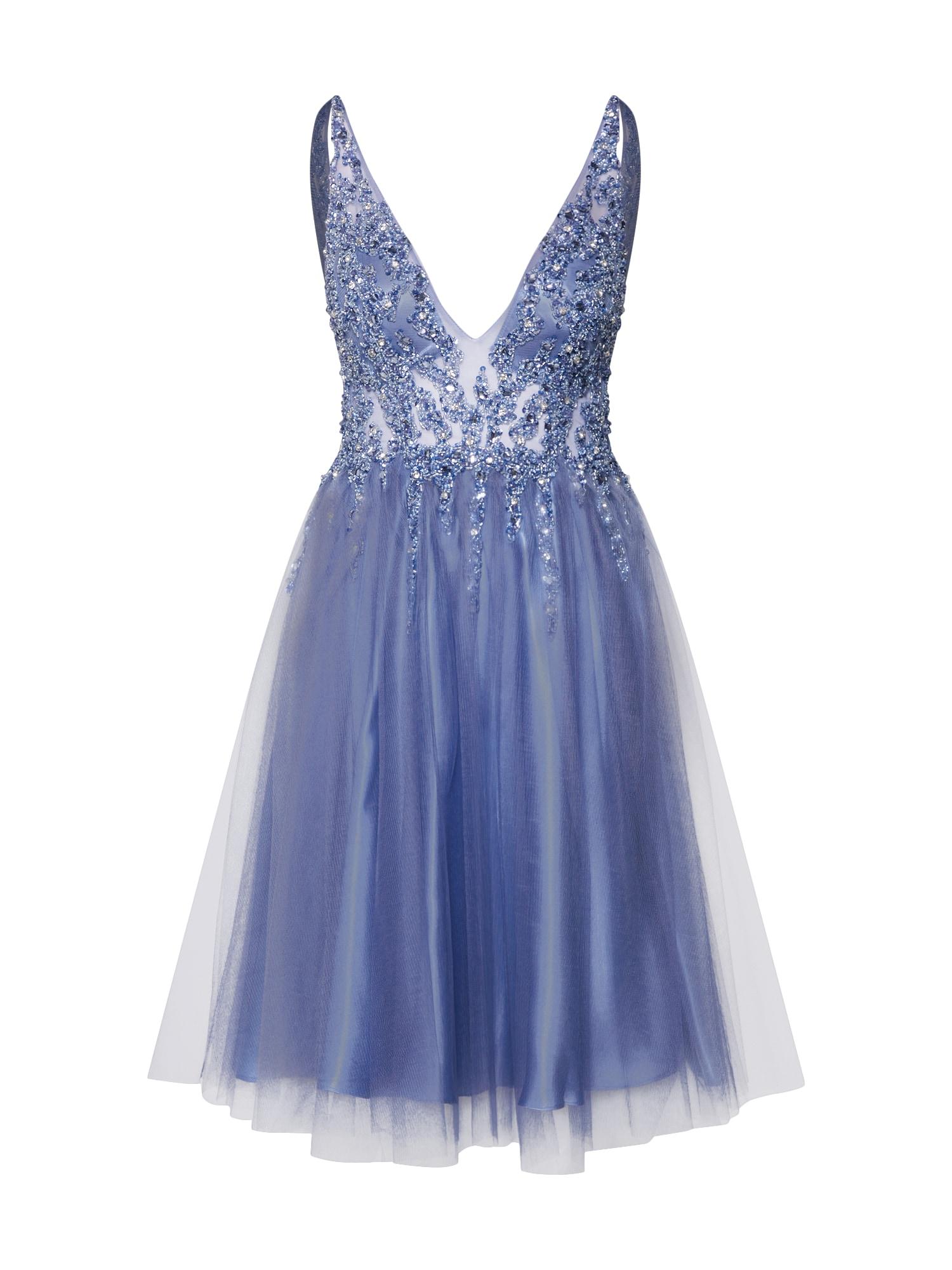 Společenské šaty SHORT RAY BEADS modrá stříbrně šedá Mascara