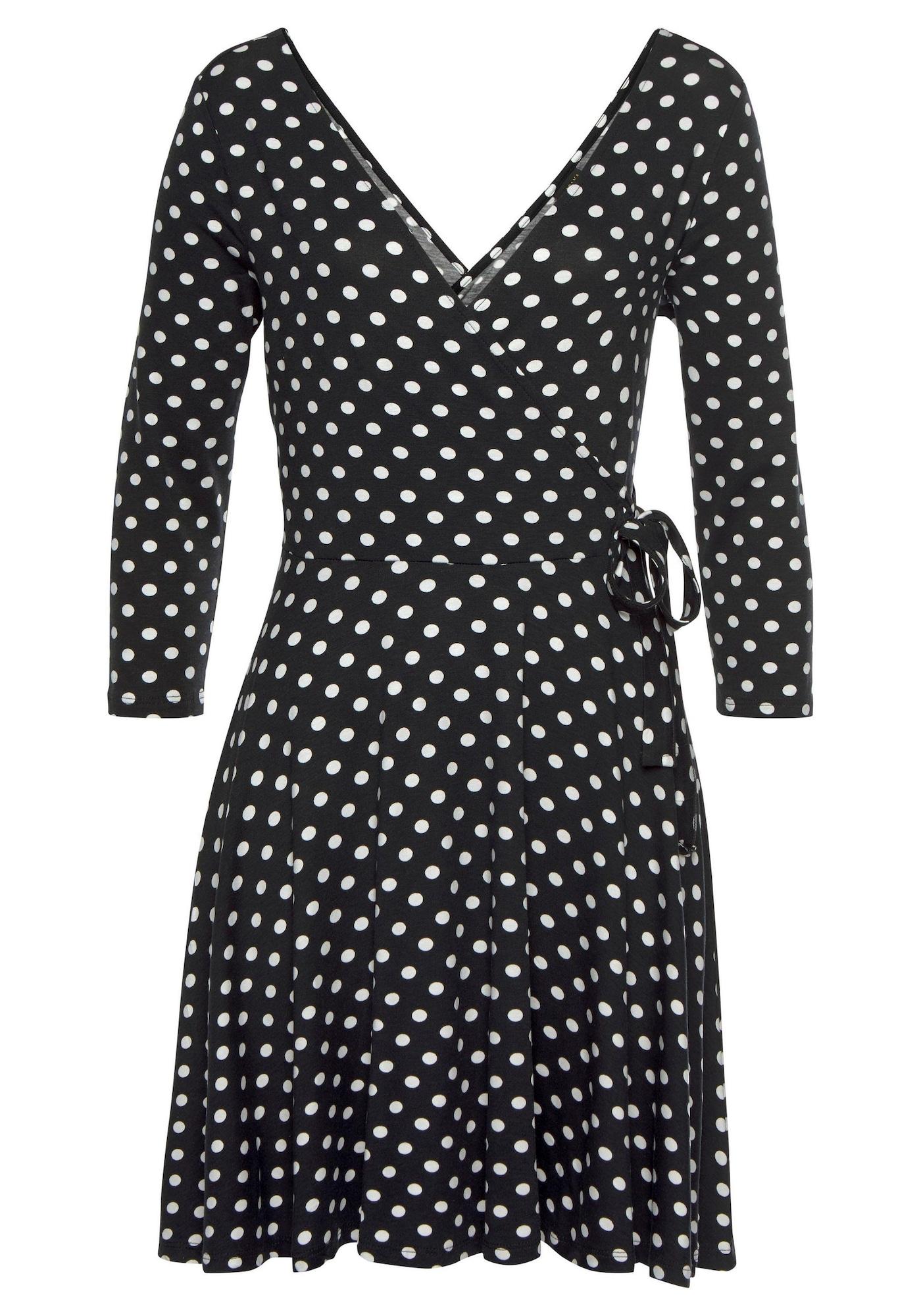 LASCANA Vasarinė suknelė juoda / balta