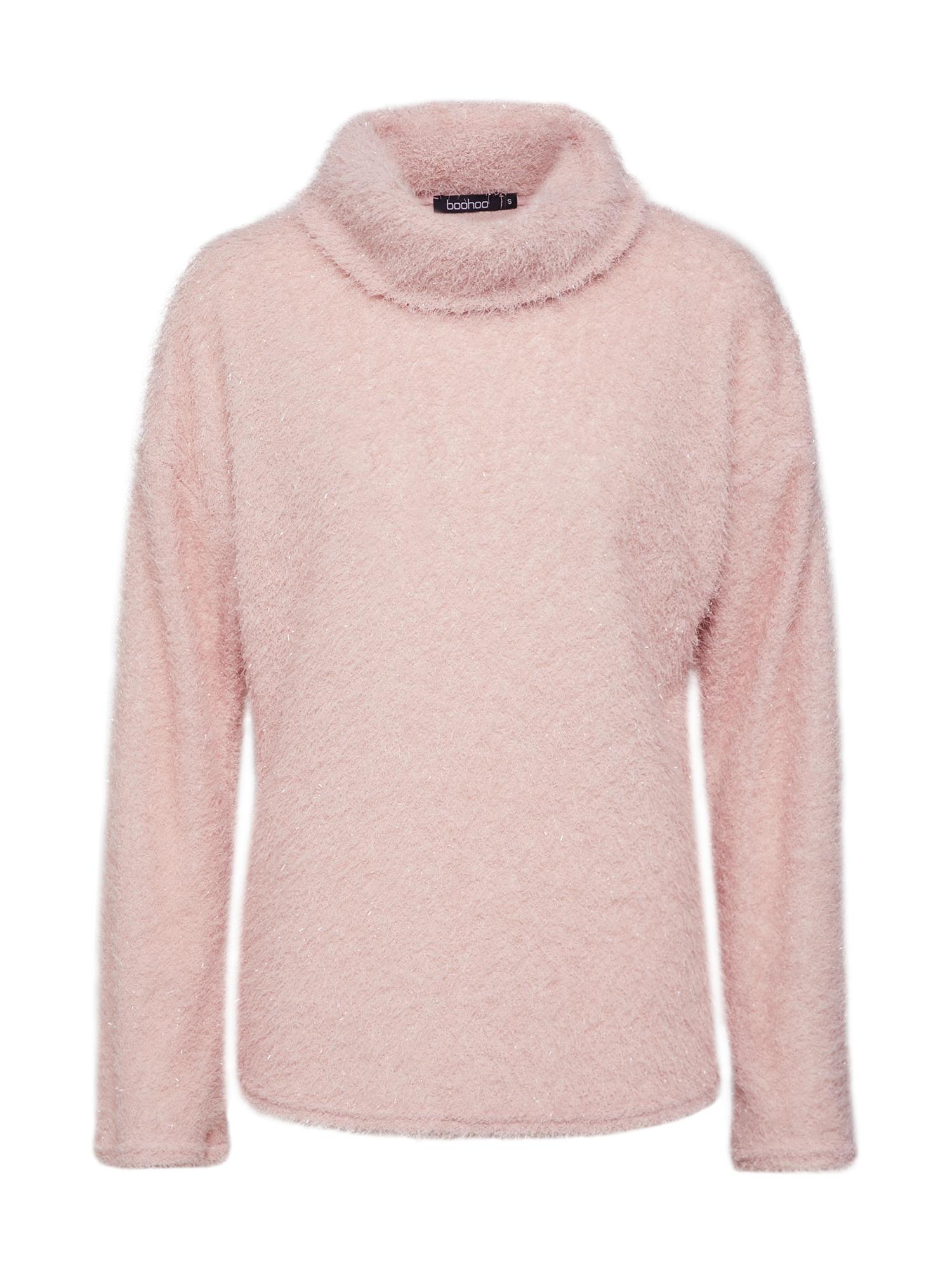 Boohoo Megztinis 'Fluffy Knit Roll Neck Jumper' rožinė