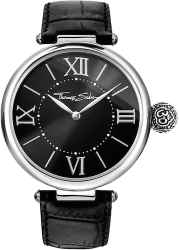 Armbanduhren Nine & Company Damen Schwarz Lederband Silberfarben Wr Batterie