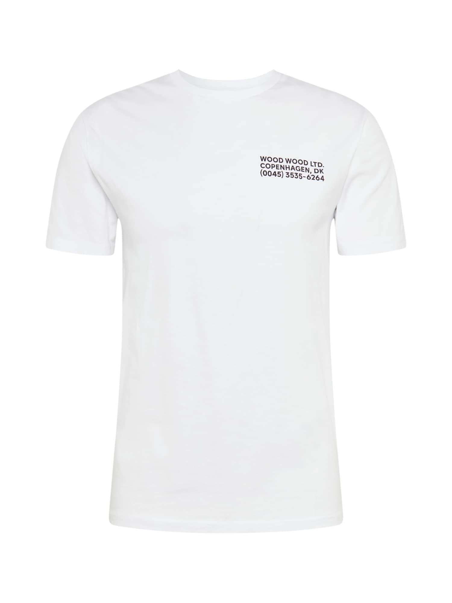 WOOD WOOD Póló 'Info'  fehér / fekete