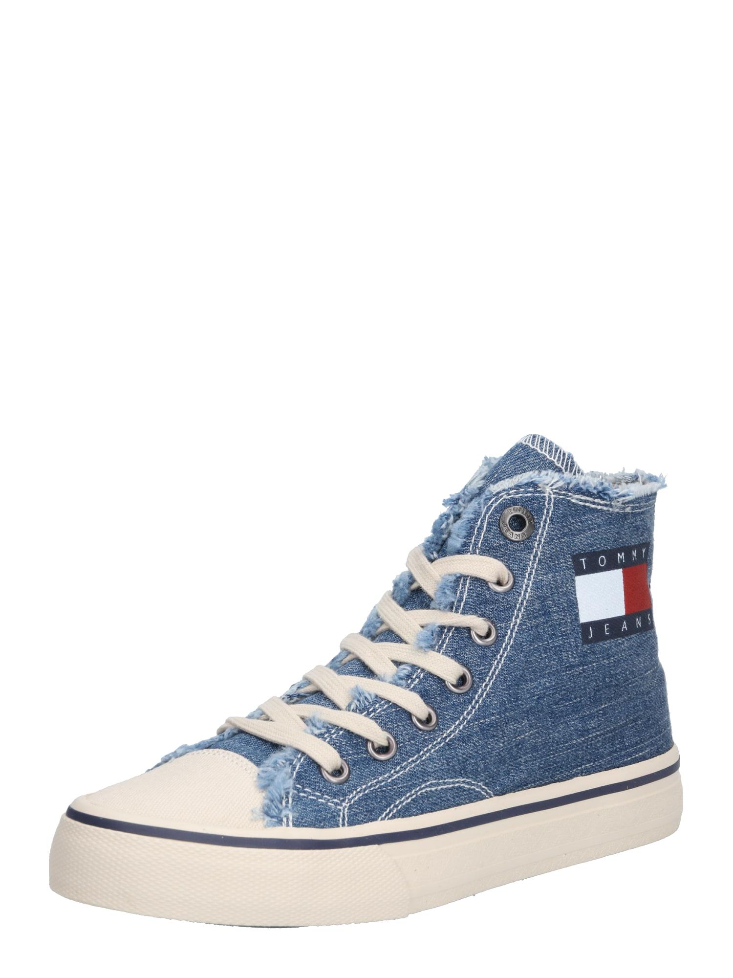Kotníkové tenisky modrá džínovina bílá Tommy Jeans