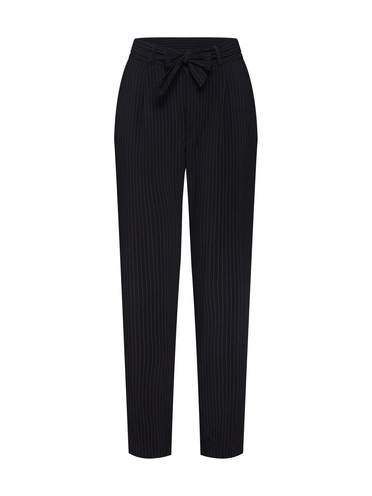 JACQUELINE de YONG Chino stiliaus kelnės 'JDYOMA BELT PANT WVN' juoda / balta