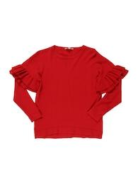 Kinder,  Mädchen REVIEW FOR TEENS Strickpullover mit Rüschenärmeln rot | 04061449086105
