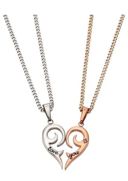 Schmucksets für Frauen - FIRETTI Schmuckset Partnerschmuck bestehend aus 2 Halsketten und Anhängern 'Herz' (Set 4tlg.) rosegold silber  - Onlineshop ABOUT YOU
