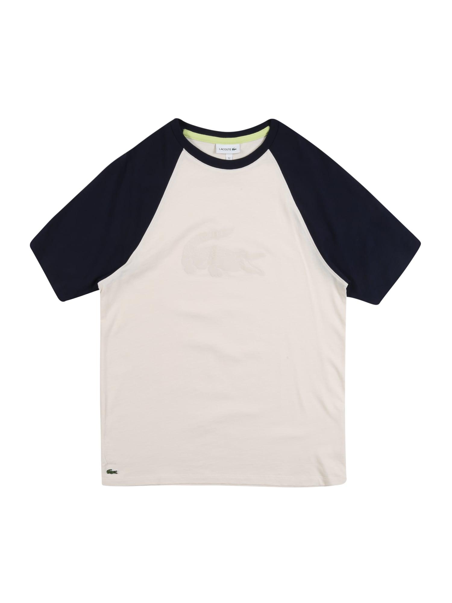 LACOSTE Marškinėliai smėlio / mėlyna