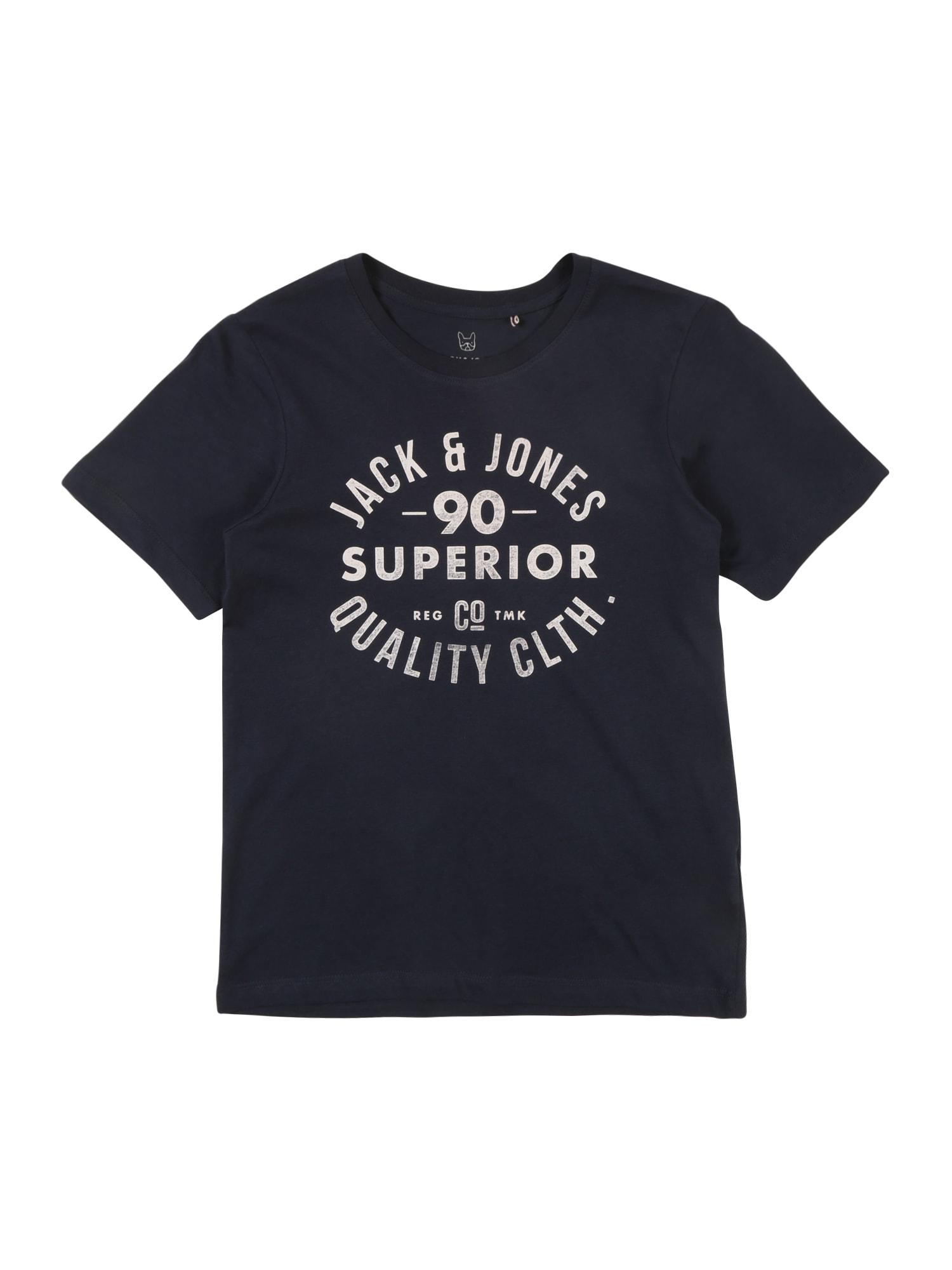 Jack & Jones Junior Tričko 'JJEJEANS TEE SS CREW NECK NOOS JR'  námornícka modrá / tmavomodrá