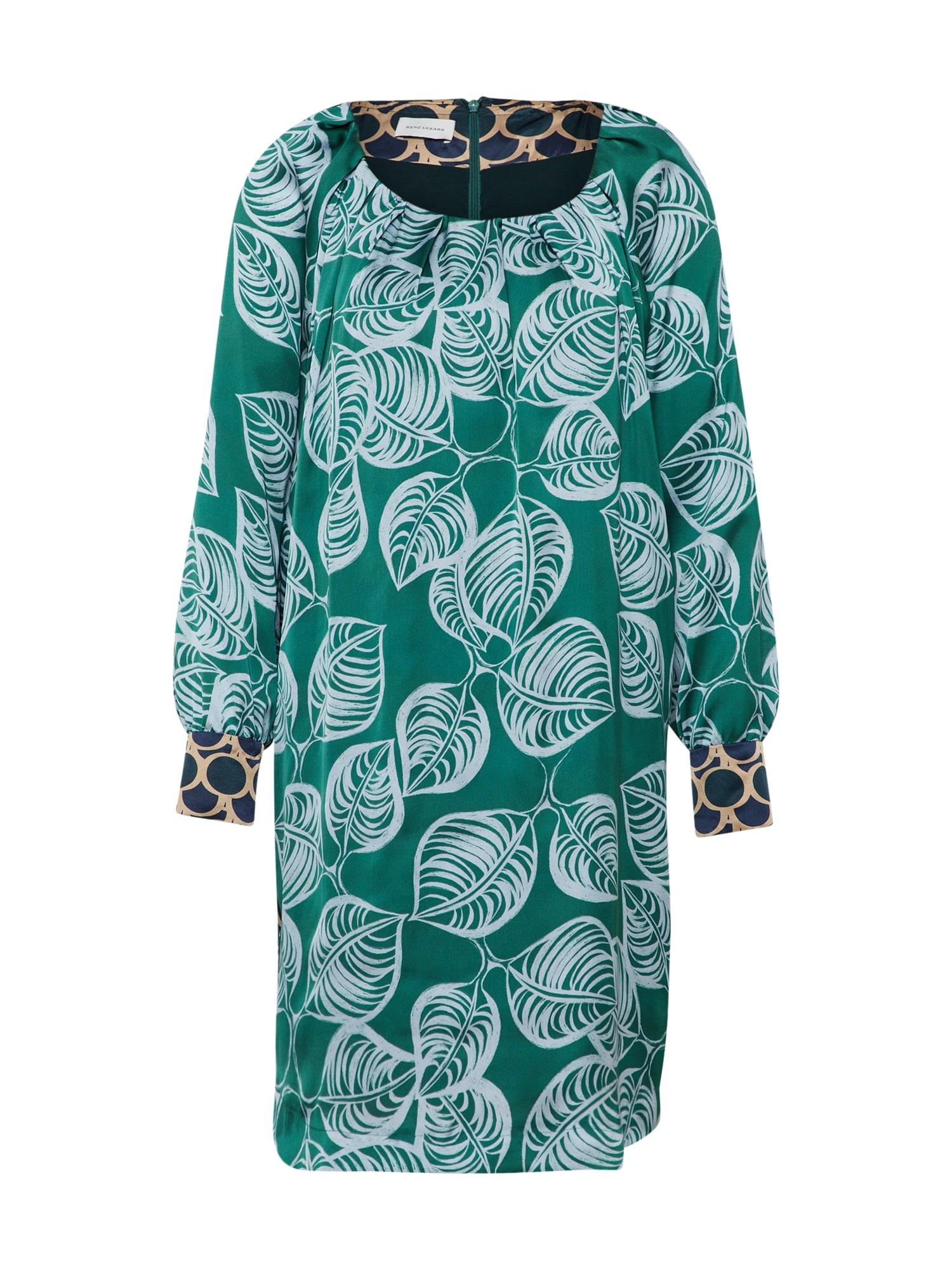 Košilové šaty zelená mix barev RENÉ LEZARD