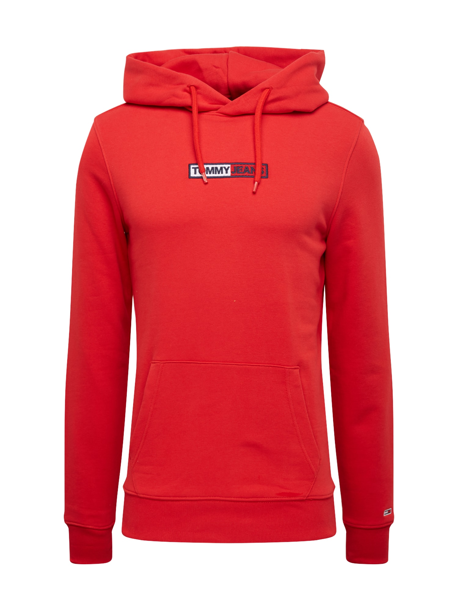Tommy Jeans Megztinis 'TJM EMBROIDERED BOX HOODIE' raudona