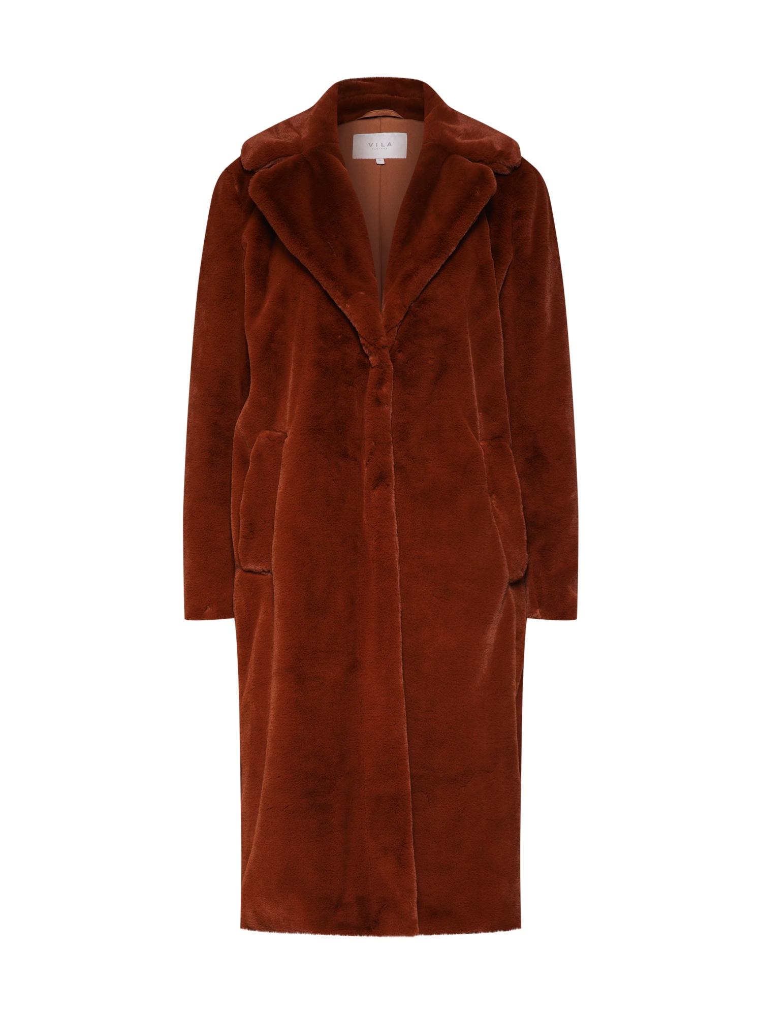 VILA Zimní kabát 'VIKODA' hnědý / červený