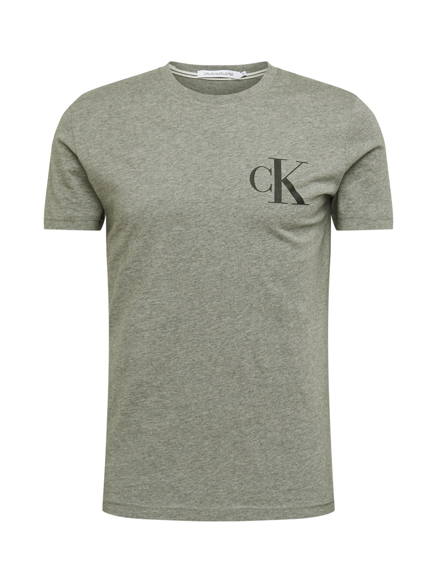 Calvin Klein Jeans Tričko 'INSTIT BACK POP LOGO SLIM TEE'  sivá