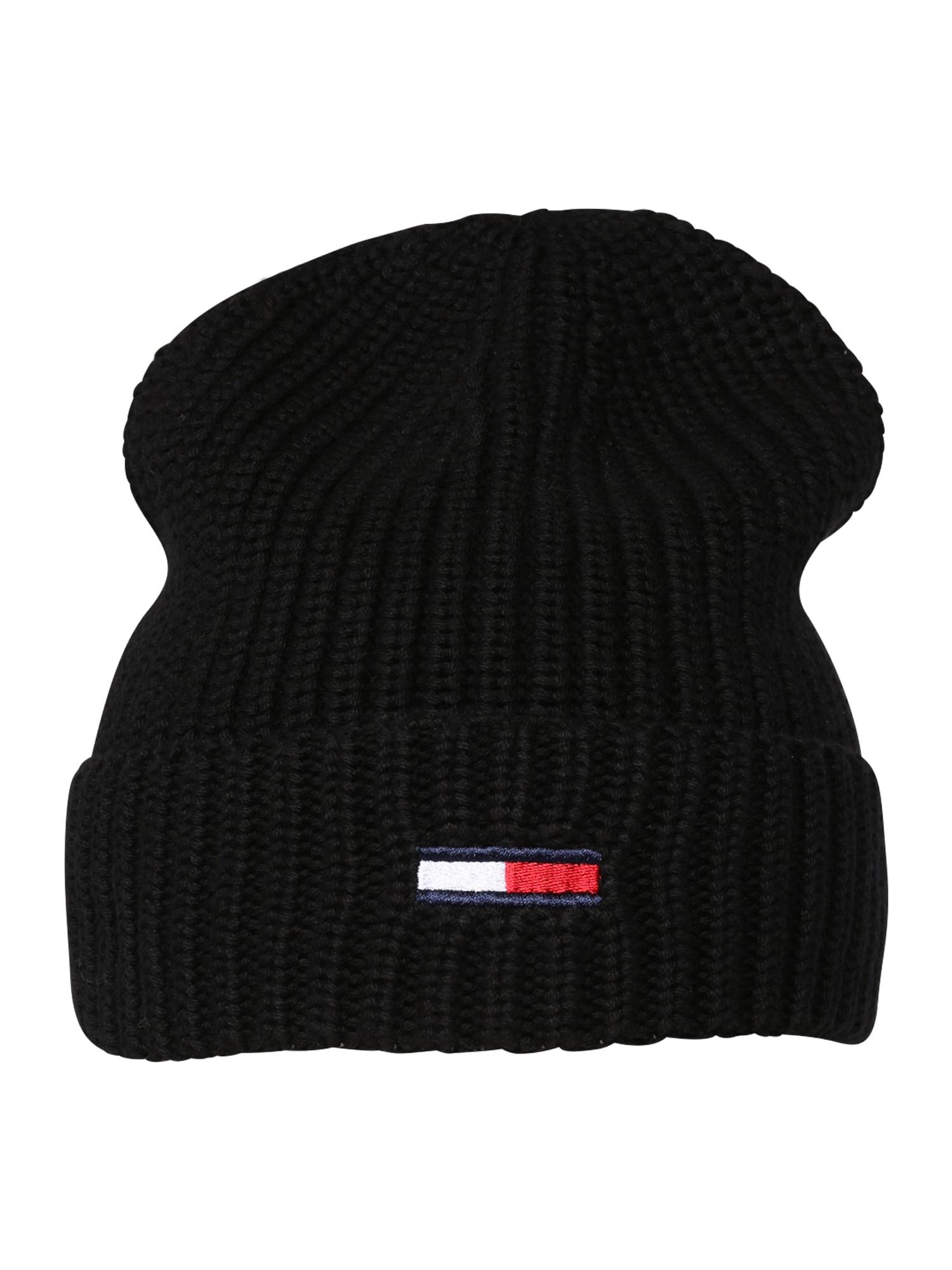 Tommy Jeans Megzta kepurė tamsiai mėlyna jūros spalva / šviesiai raudona / juoda