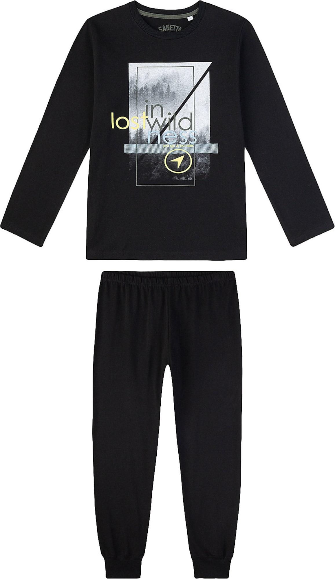 SANETTA Miego kostiumas juoda / pilka / tamsiai pilka / geltona / opalo