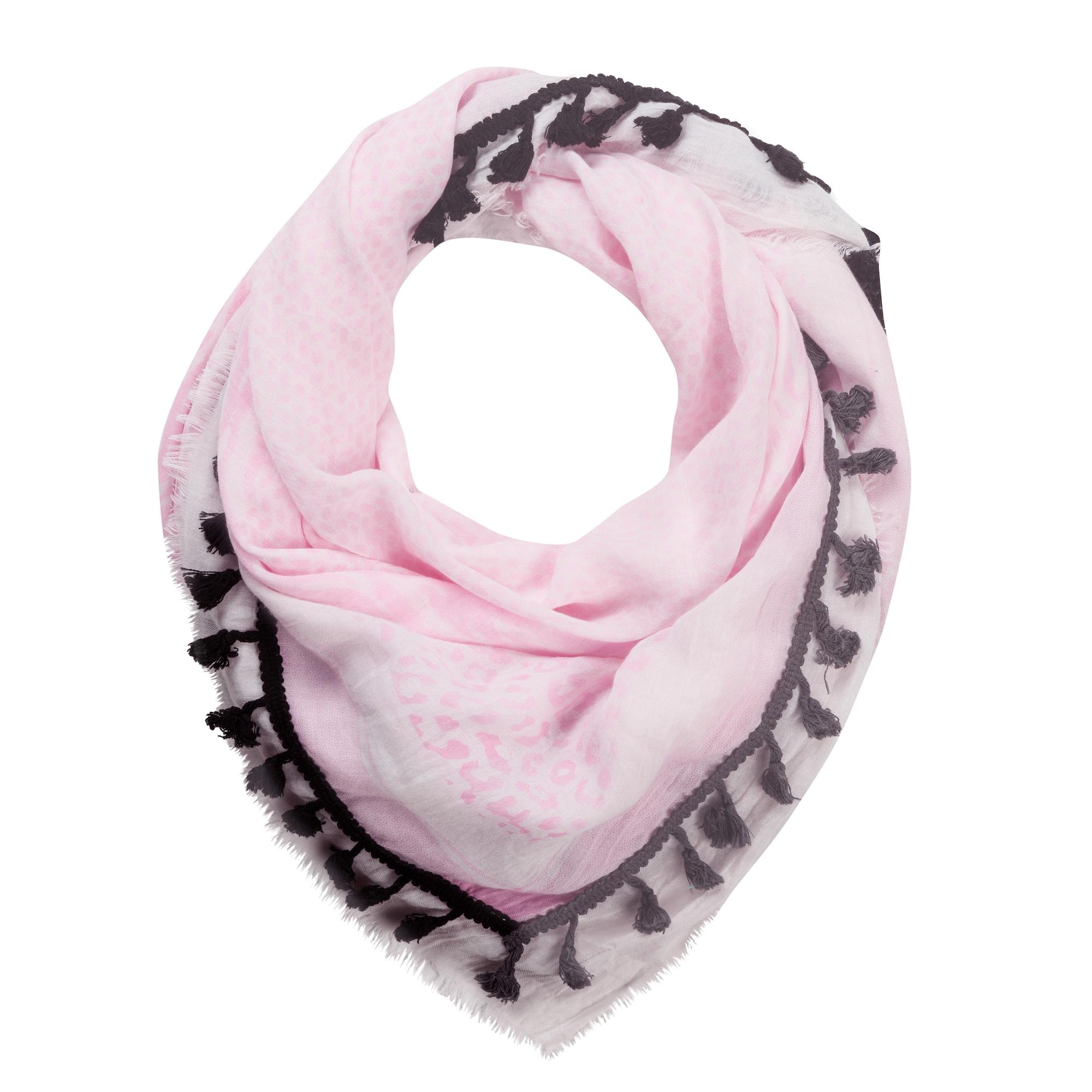 Šátek PALI FUR WOVEN TASSELS růžová tmavě růžová černá CODELLO