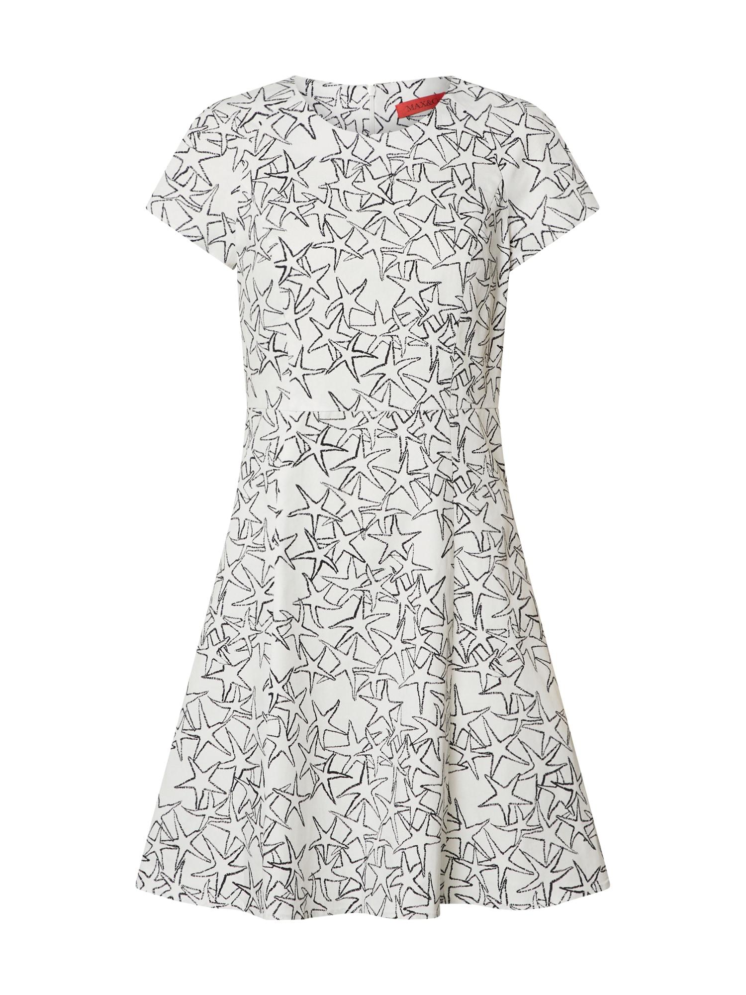 MAX&Co. Kokteilinė suknelė 'DISPARI' balta / juoda