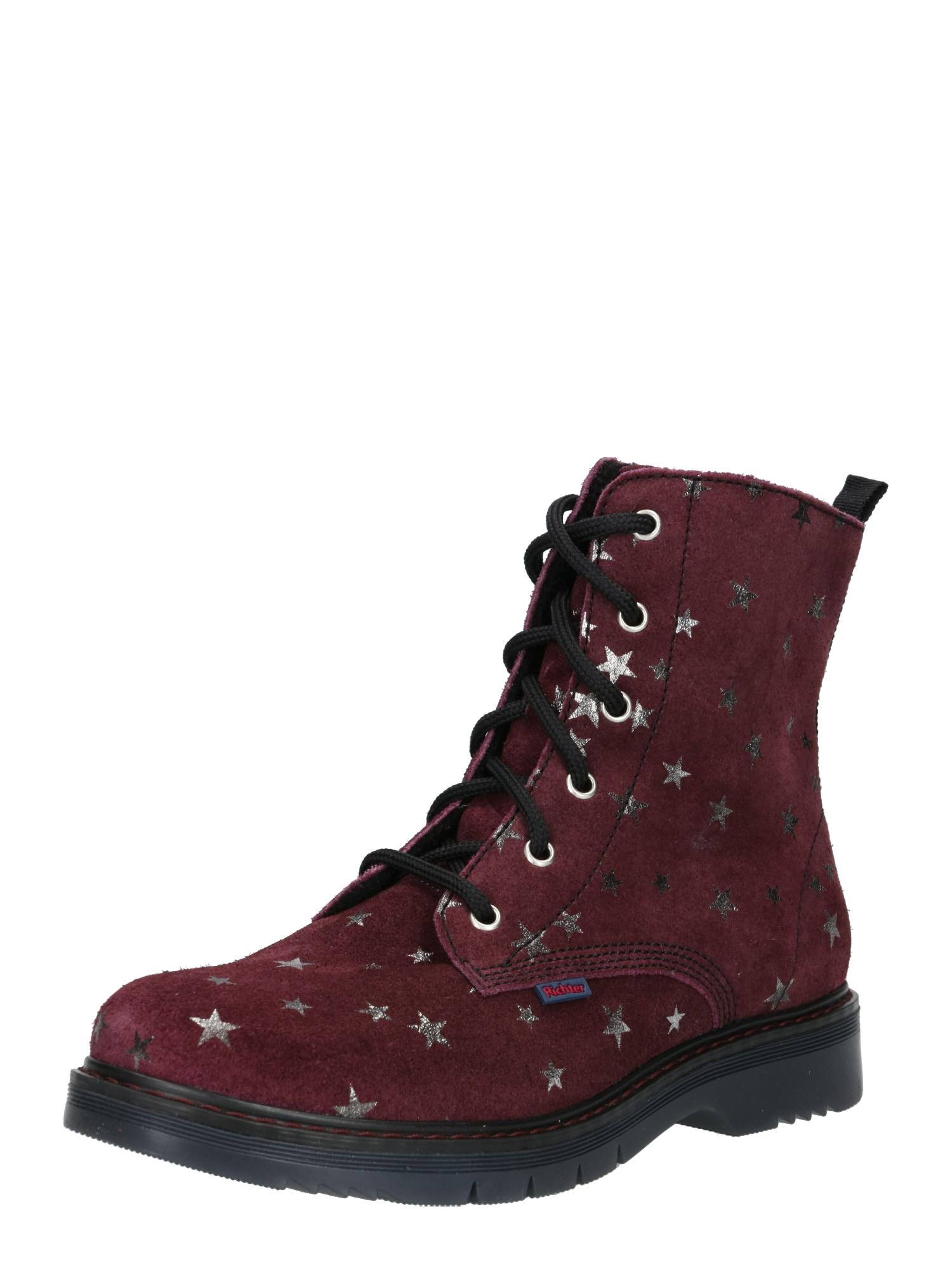 Šněrovací boty Glattleder black fialová RICHTER