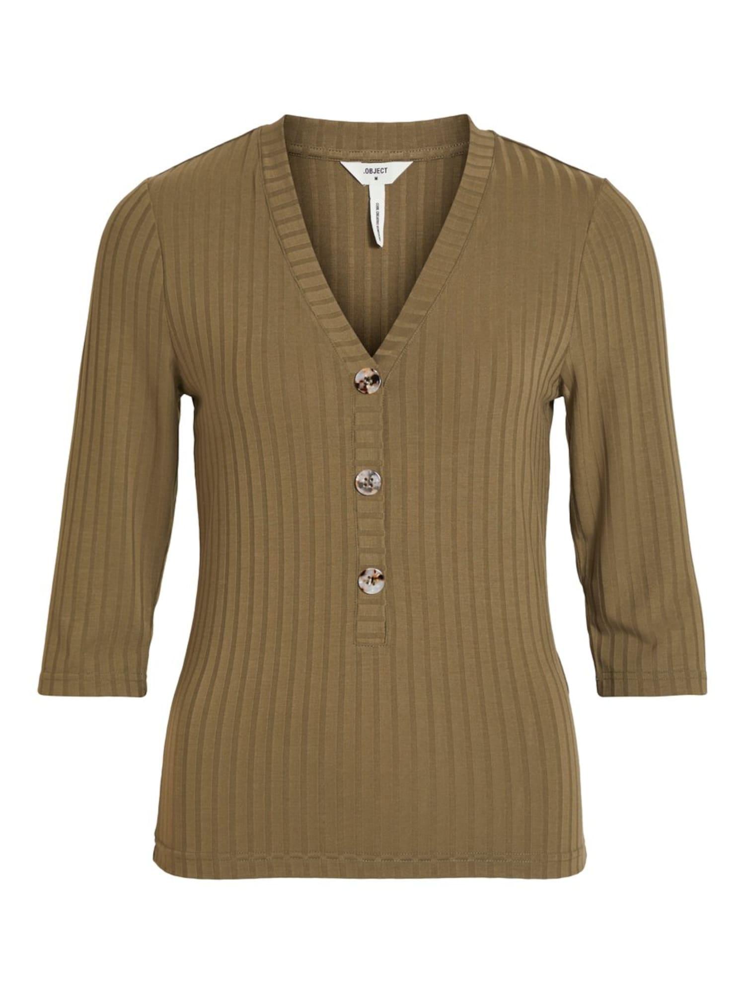 OBJECT Marškinėliai alyvuogių spalva