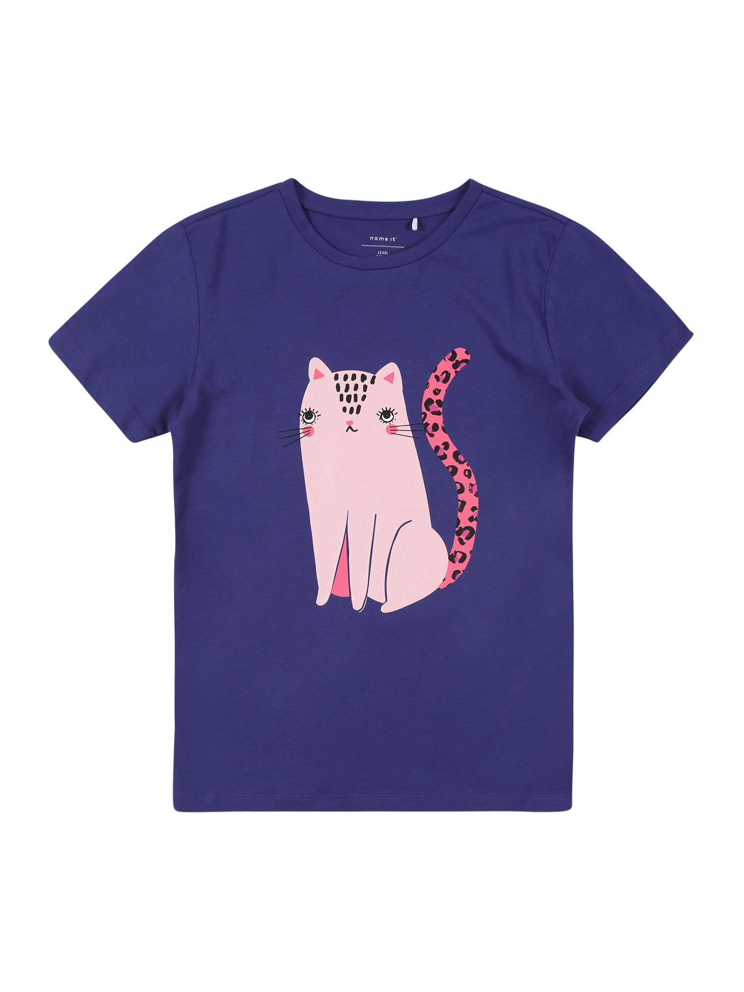 NAME IT Marškinėliai tamsiai mėlyna / rožinė