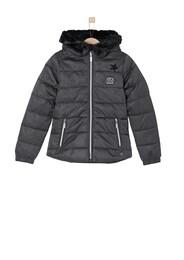 S.Oliver Junior,s.Oliver Kinder,Mädchen Taillierte Winterjacke mit Patches schwarz | 04055268043876