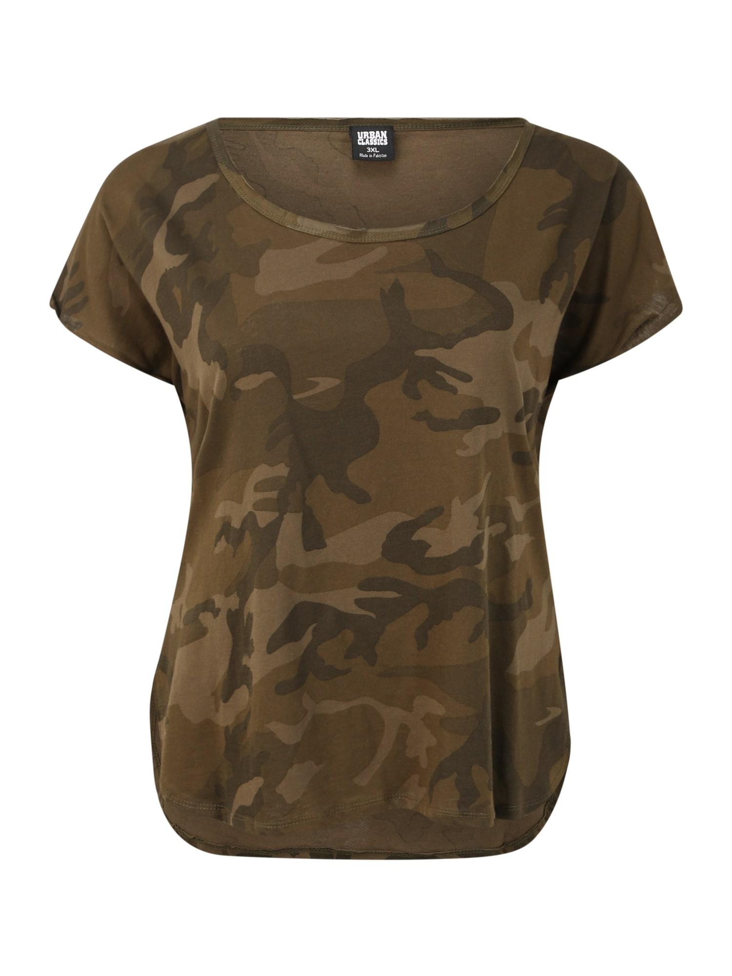 Urban Classics Curvy Marškinėliai alyvuogių spalva / tamsiai žalia