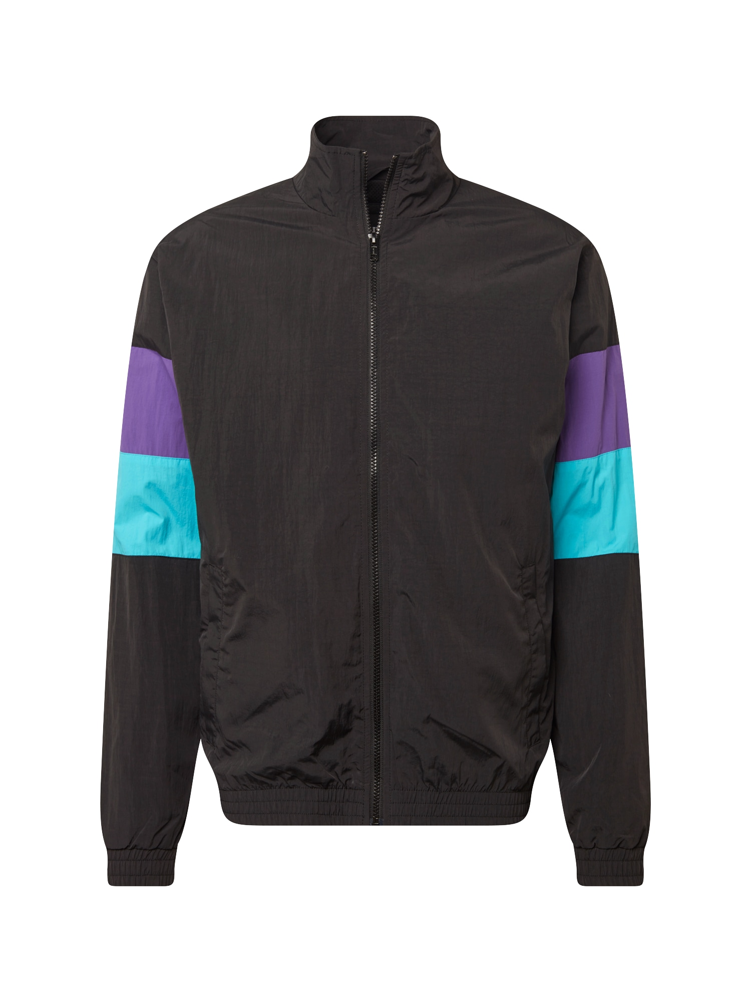 Urban Classics Demisezoninė striukė '3-Tone Crinkle Track Jacket' vandens spalva / purpurinė / juoda