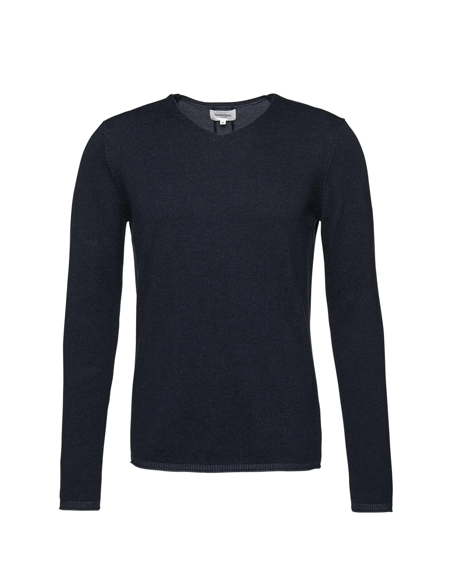 Svetr plated Pullover 9gg tmavě modrá NOWADAYS
