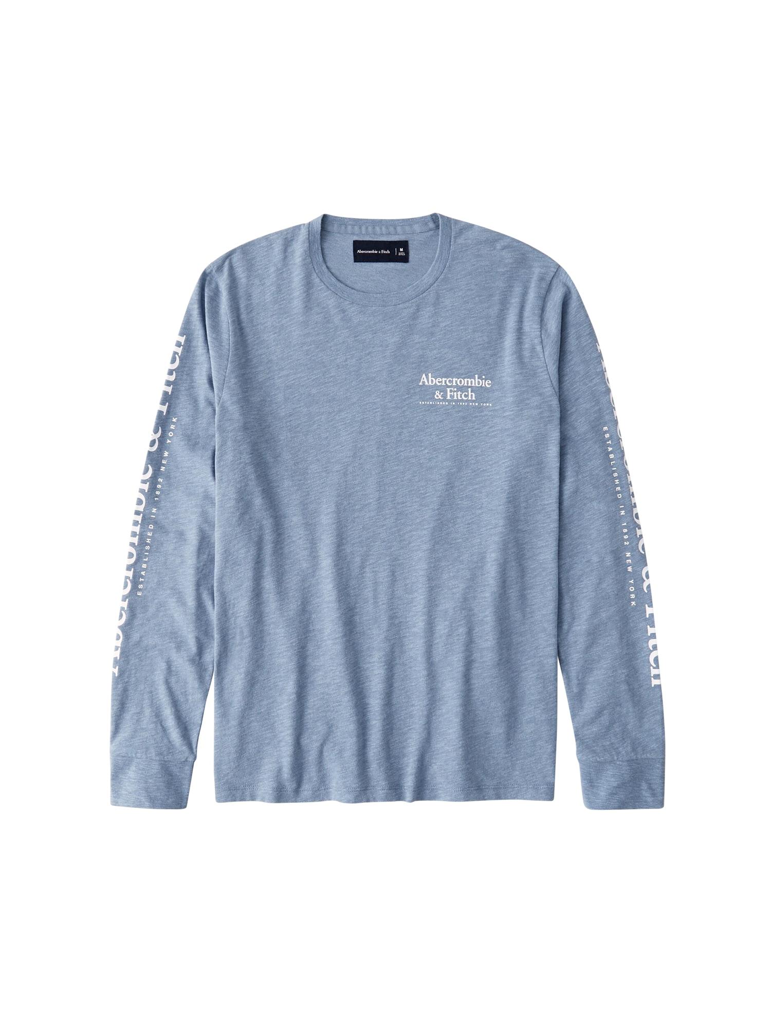 Abercrombie & Fitch Marškinėliai 'LS CORE EXPLODED PRINT' mėlyna