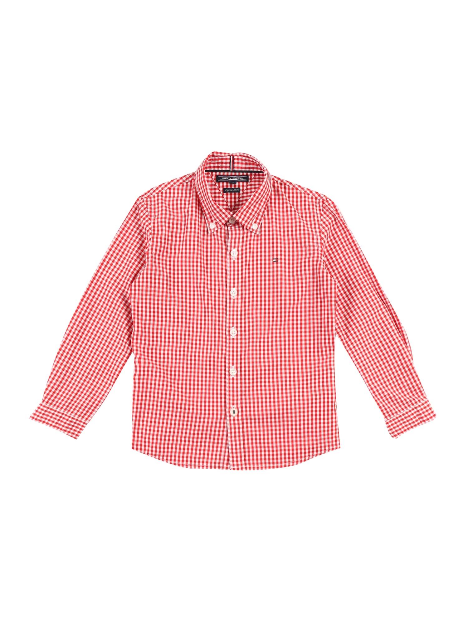 TOMMY HILFIGER Dalykiniai marškiniai 'GINGHAM' raudona / balta
