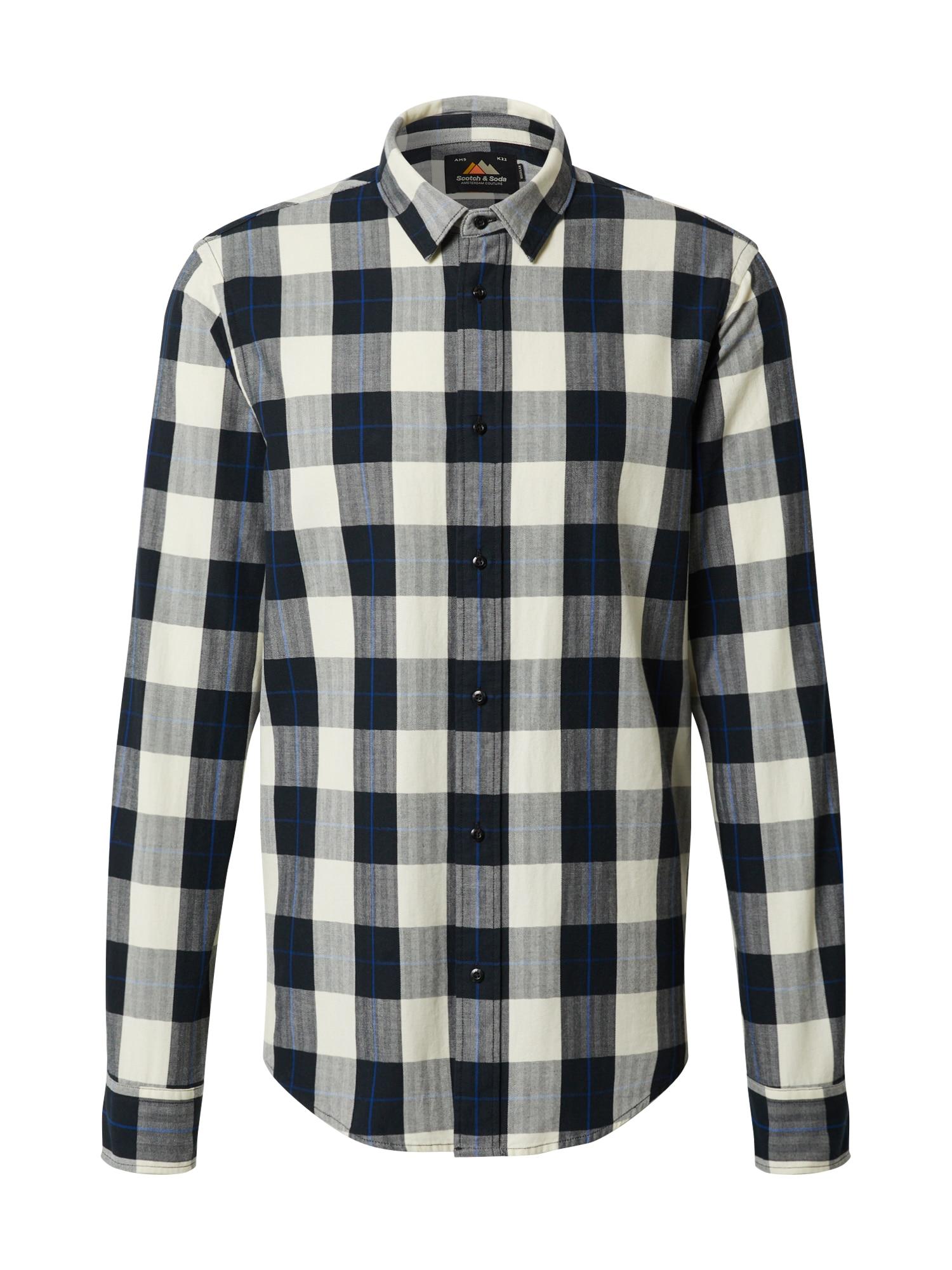 SCOTCH & SODA Marškiniai margai juoda / pilka / margai pilka / smėlio / mėlyna
