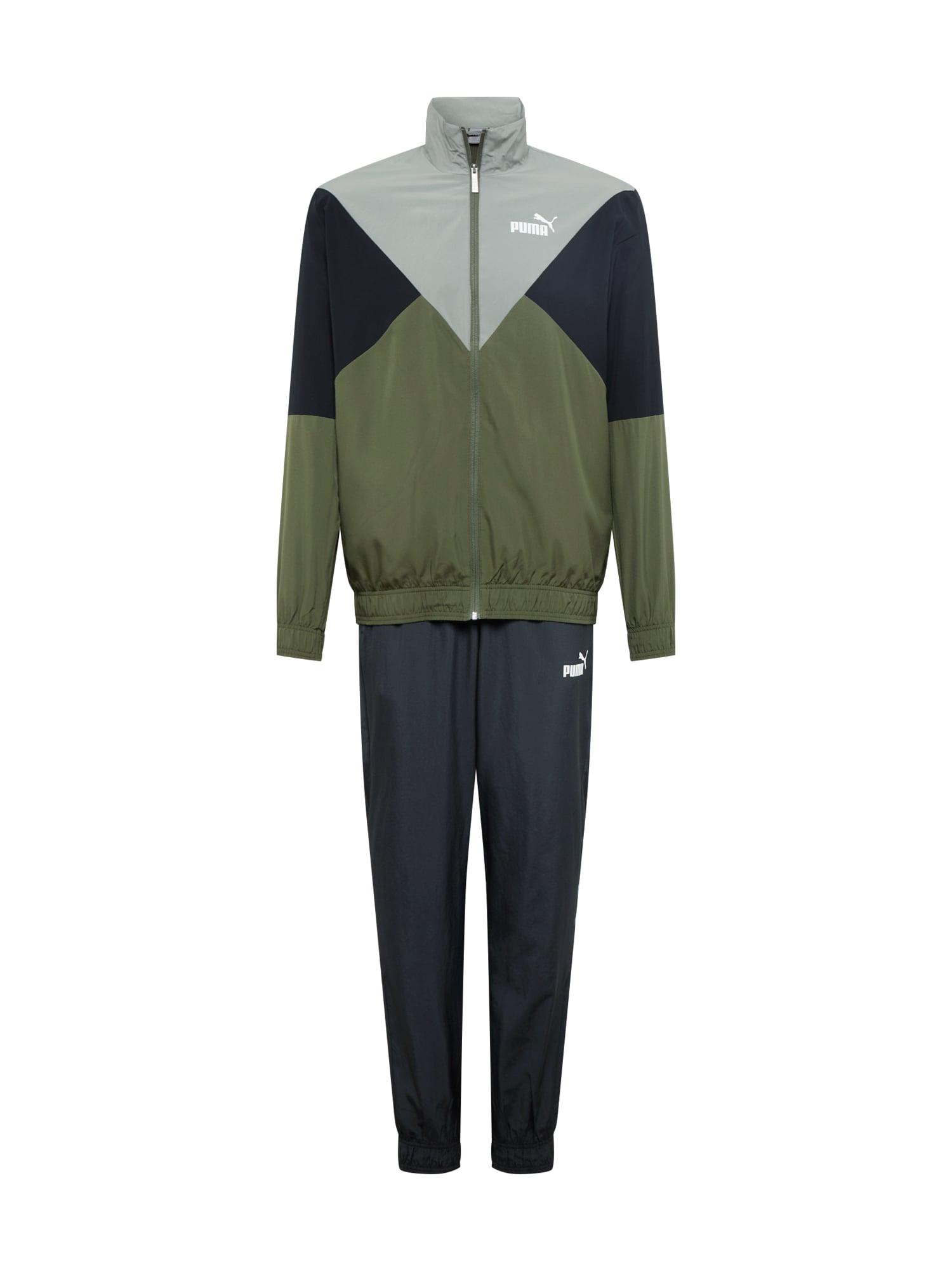 PUMA Treniruočių kostiumas tamsiai žalia / pilka / juoda