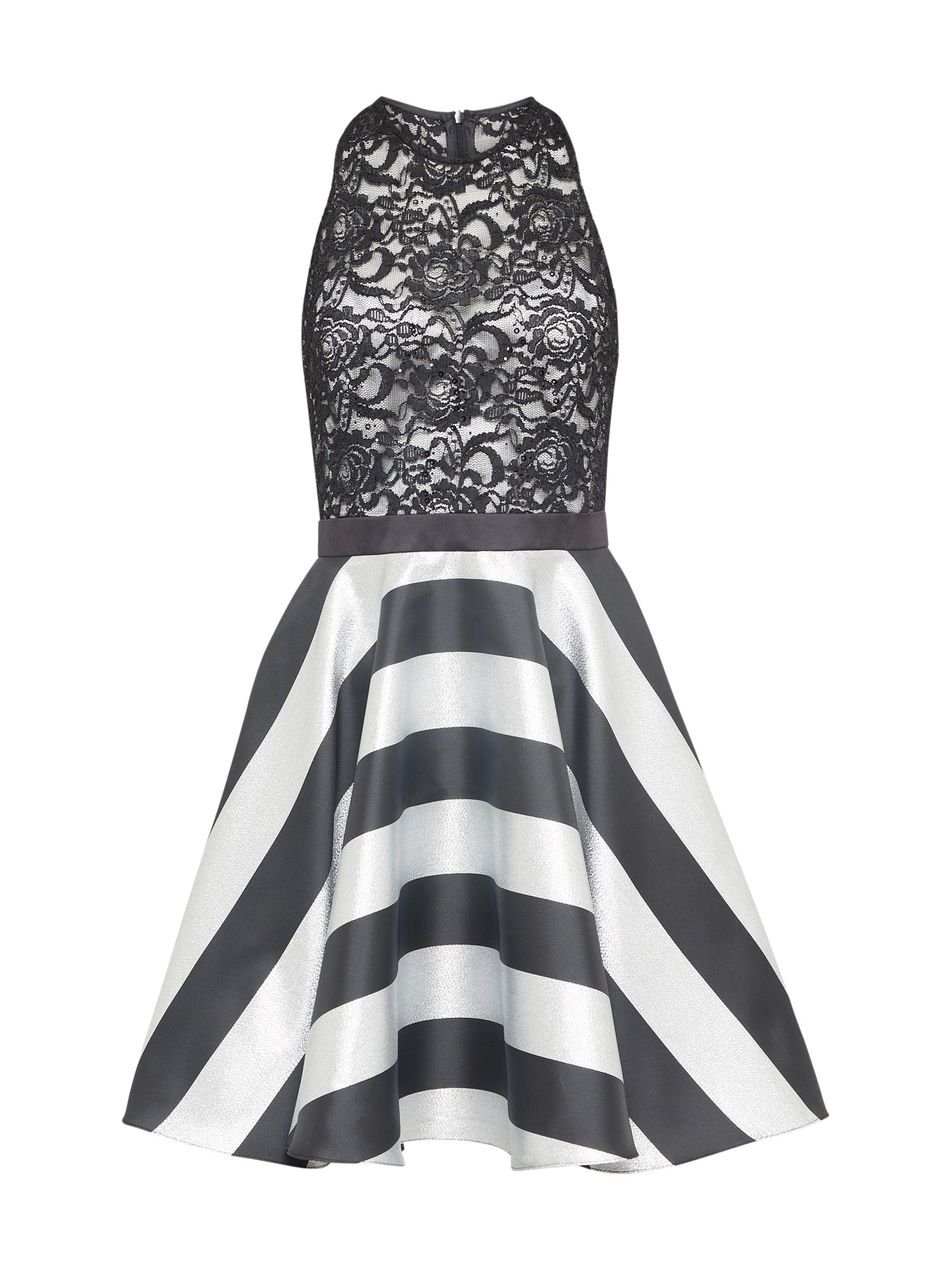 Koktejlové šaty tmavě šedá černá bílá SWING